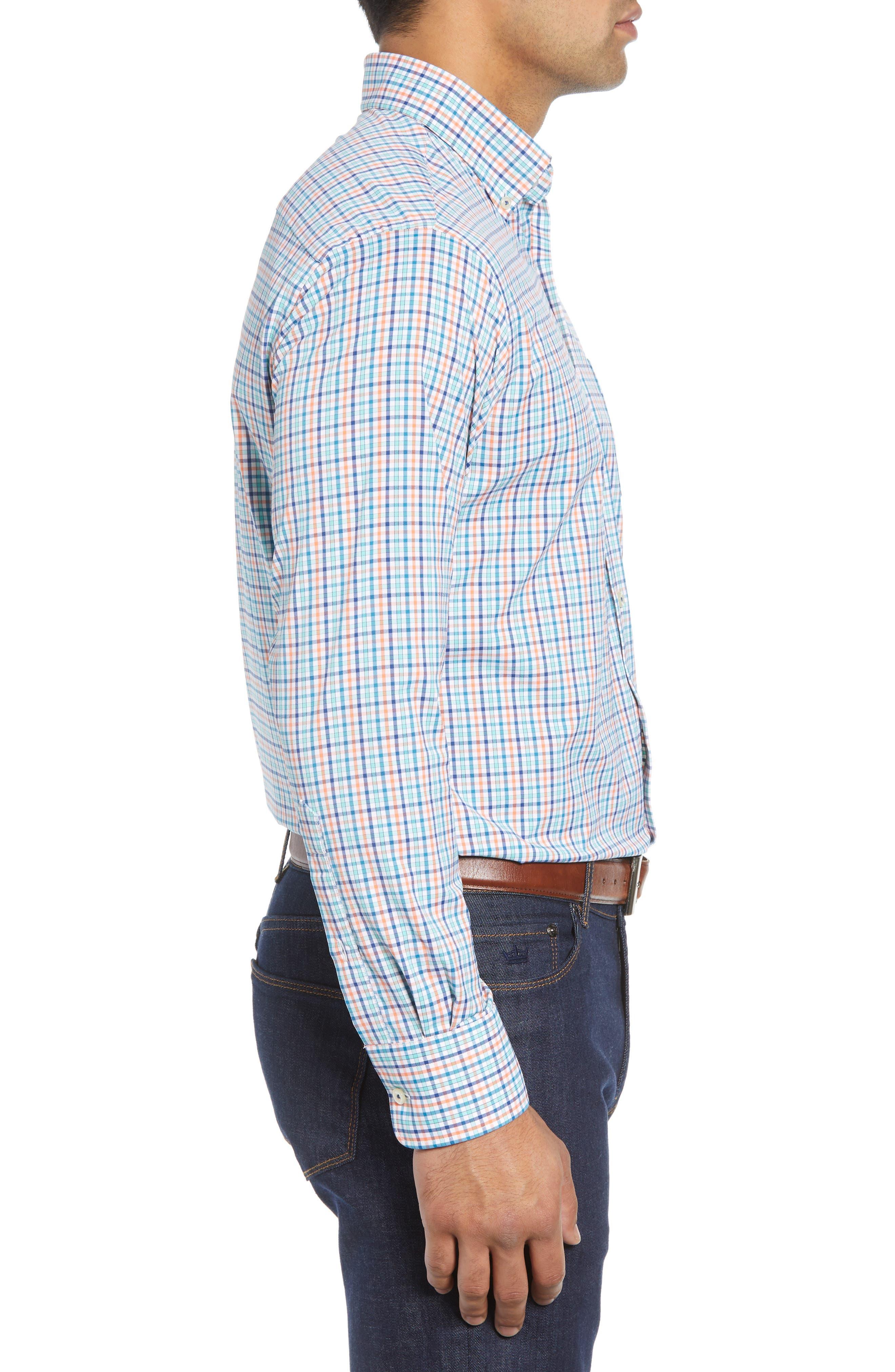 Lawson Regular Fit Tattersall Check Performance Sport Shirt,                             Alternate thumbnail 4, color,                             BLUE