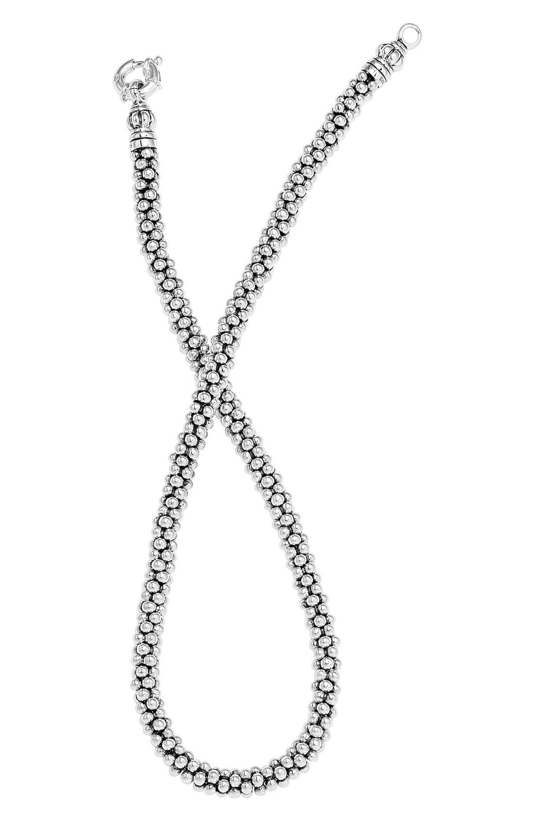 Sterling Silver Caviar 7mm Rope Necklace,                             Alternate thumbnail 3, color,                             STERLING SILVER