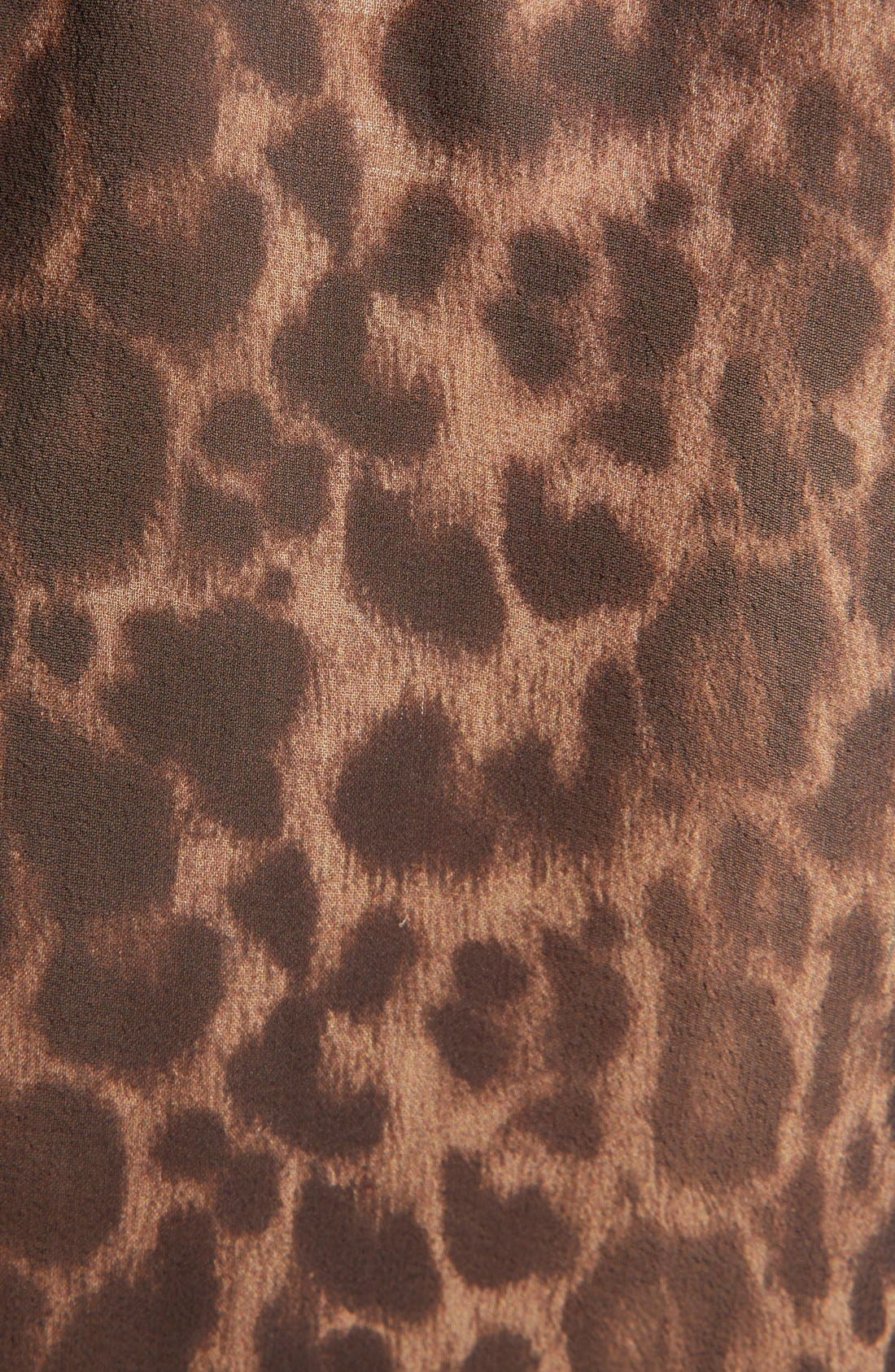 Leopard Print Collarless Silk Georgette Shirt,                             Alternate thumbnail 3, color,