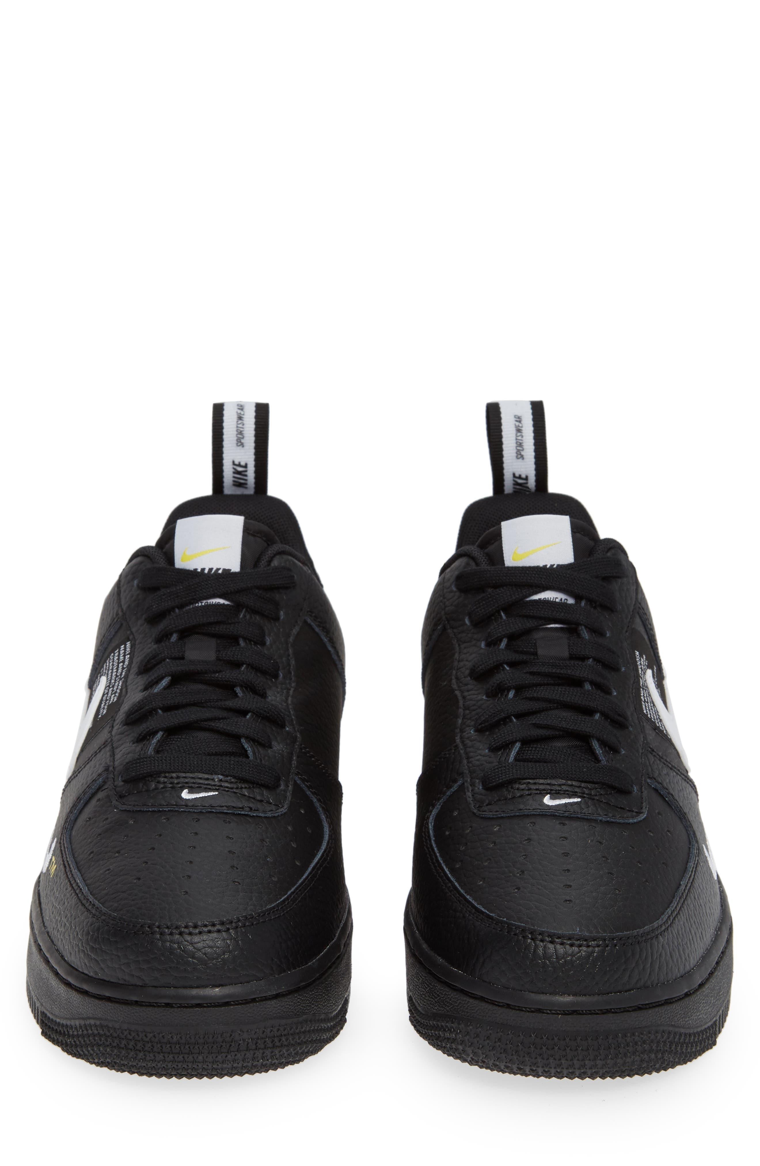 Air Force 1 '07 LV8 Utility Sneaker,                             Alternate thumbnail 5, color,                             BLACK/ WHITE/ TOUR YELLOW