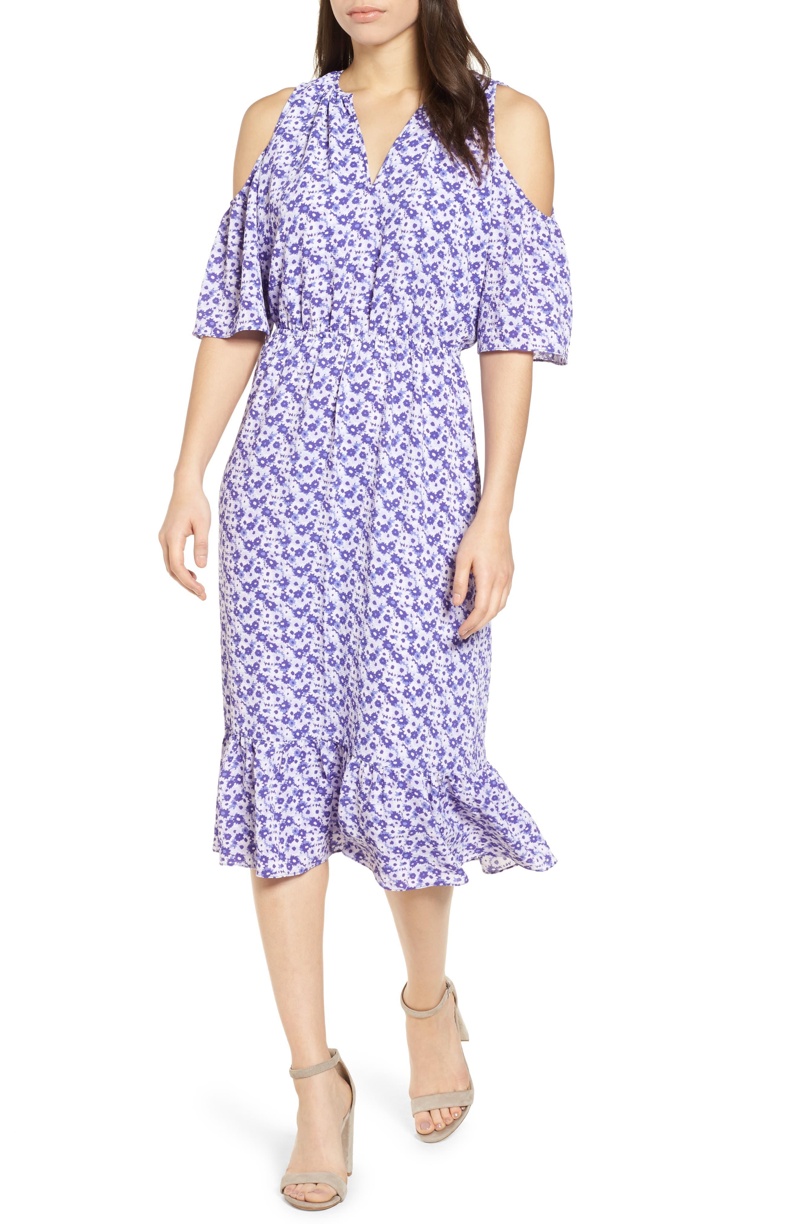 Ruffle Cold Shoulder Dress,                             Main thumbnail 1, color,                             580
