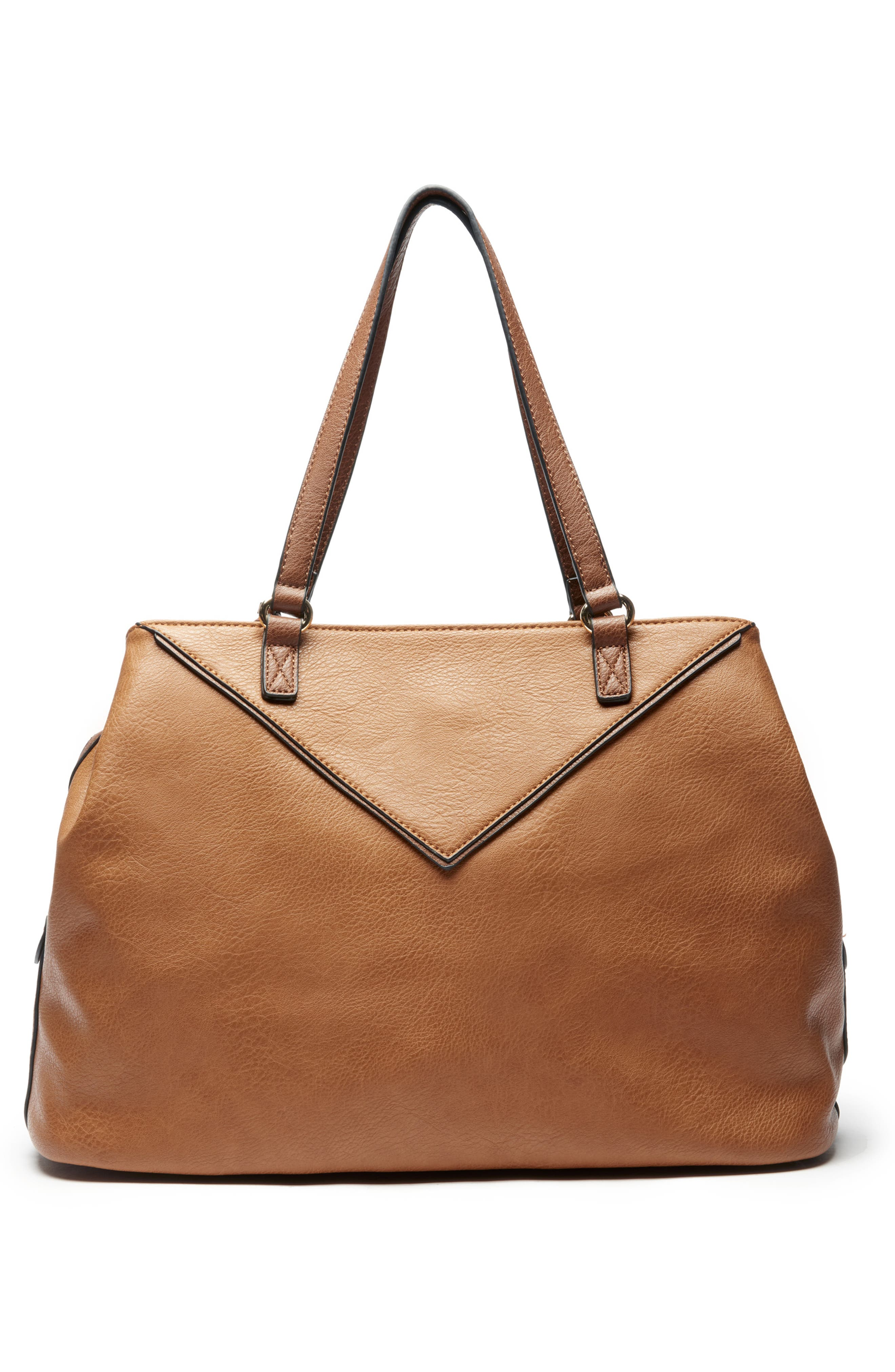 Ginny Faux Leather Tote,                             Alternate thumbnail 2, color,                             BROWN COMBO