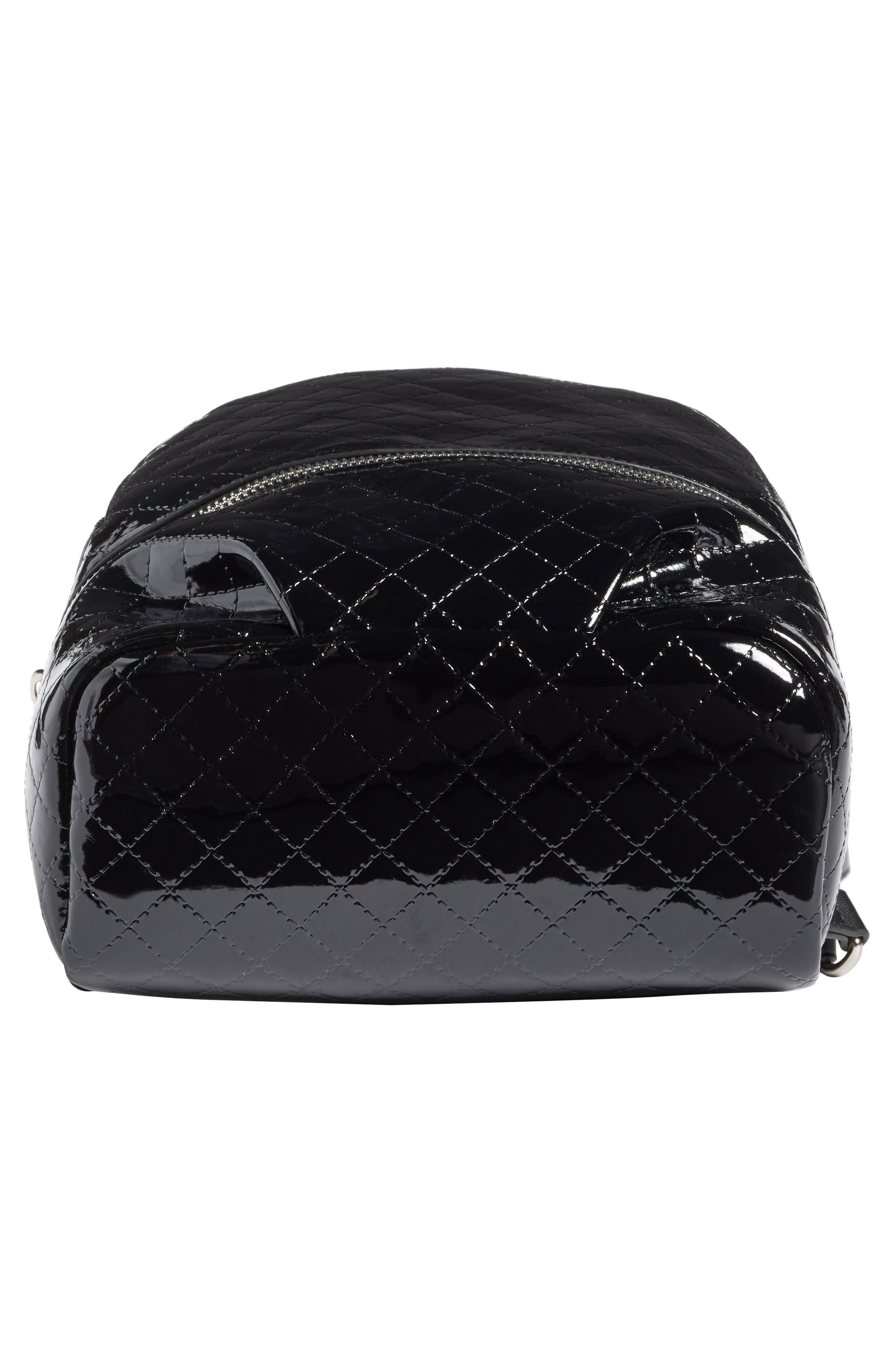 Quilted Faux Patent Backpack,                             Alternate thumbnail 6, color,                             001