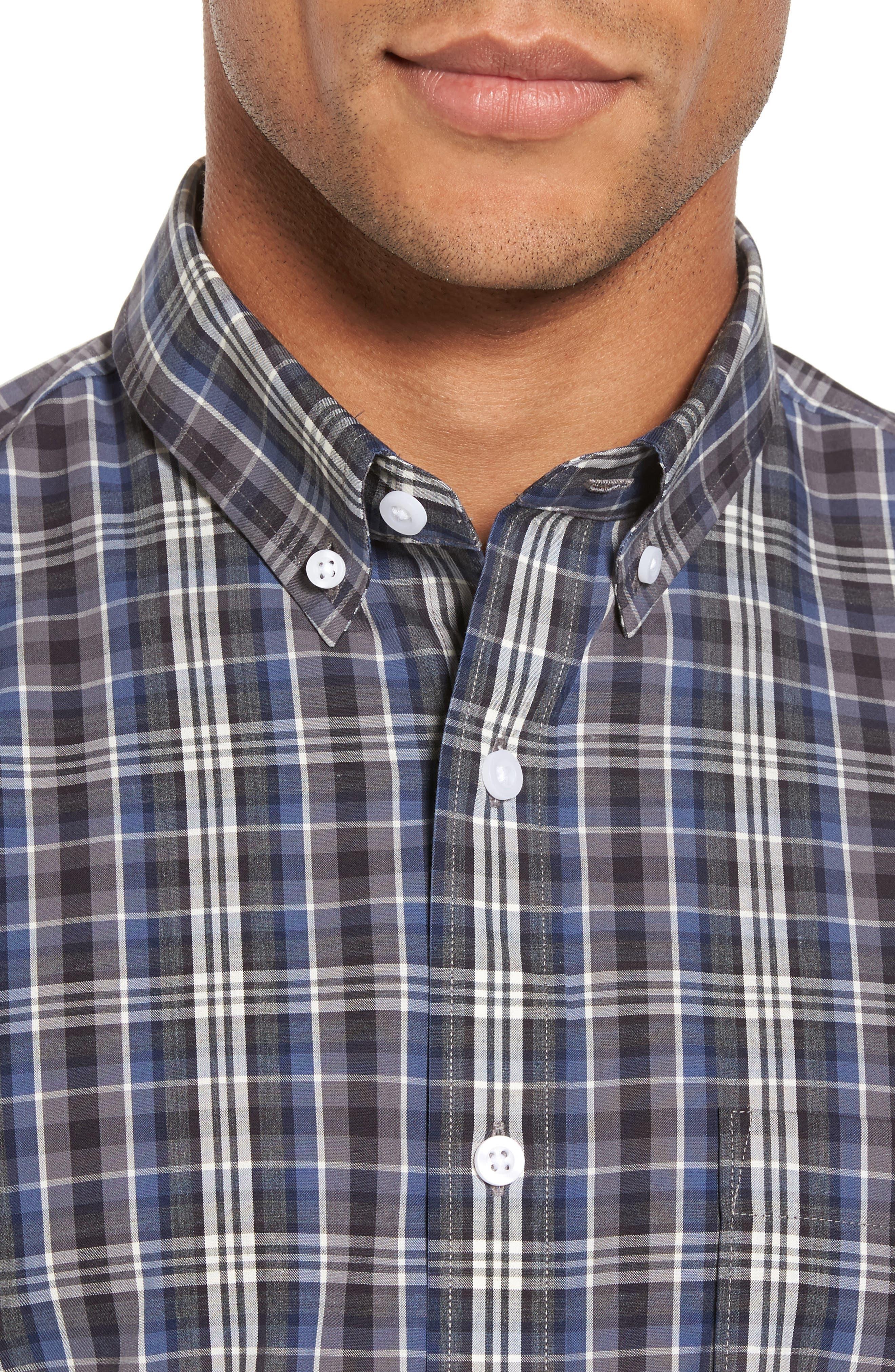 Non-Iron Trim Fit Check Sport Shirt,                             Alternate thumbnail 4, color,
