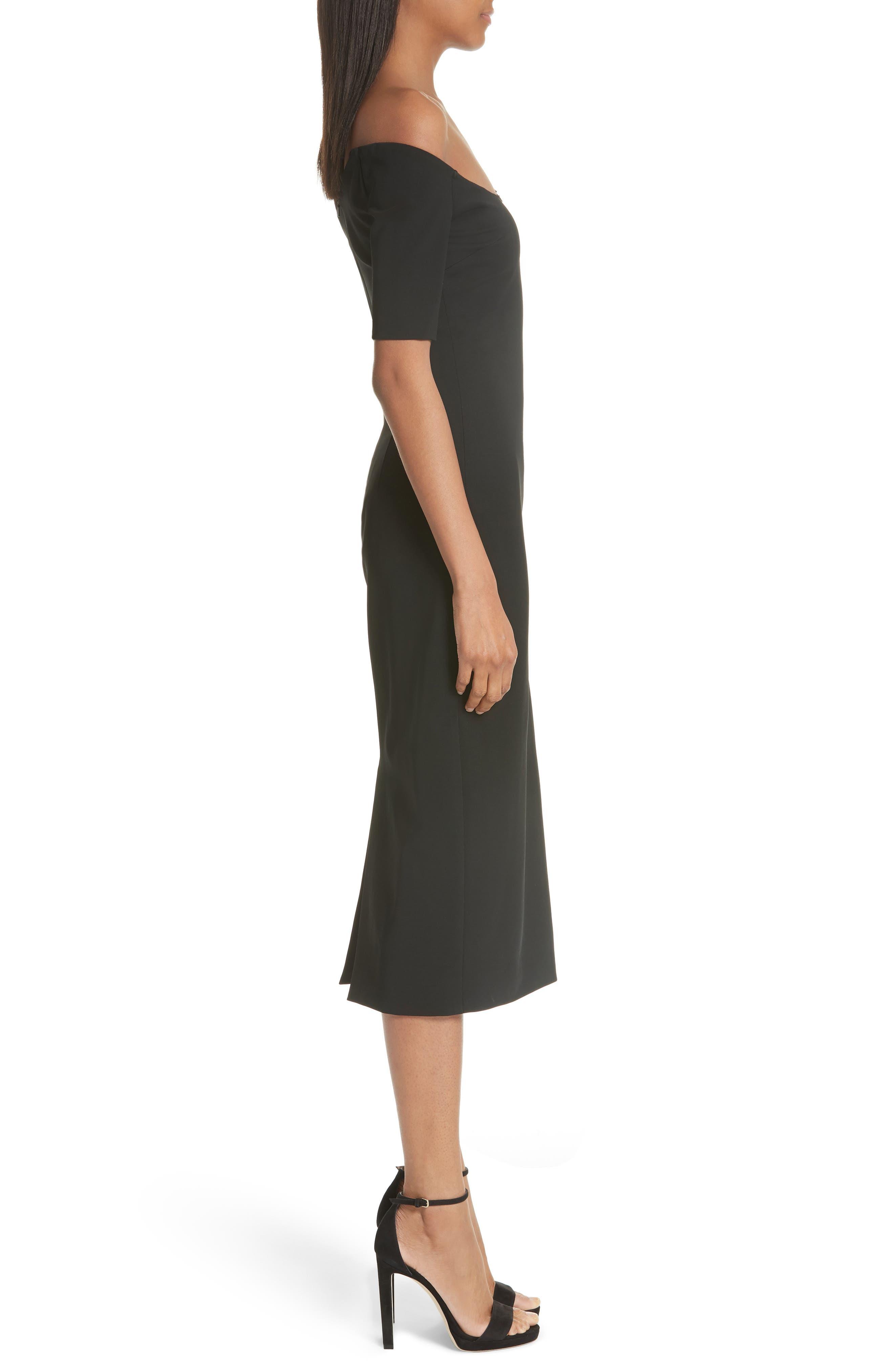 CUSHNIE,                             et Ochs Embellished Mesh One-Shoulder Sheath Dress,                             Alternate thumbnail 3, color,                             001