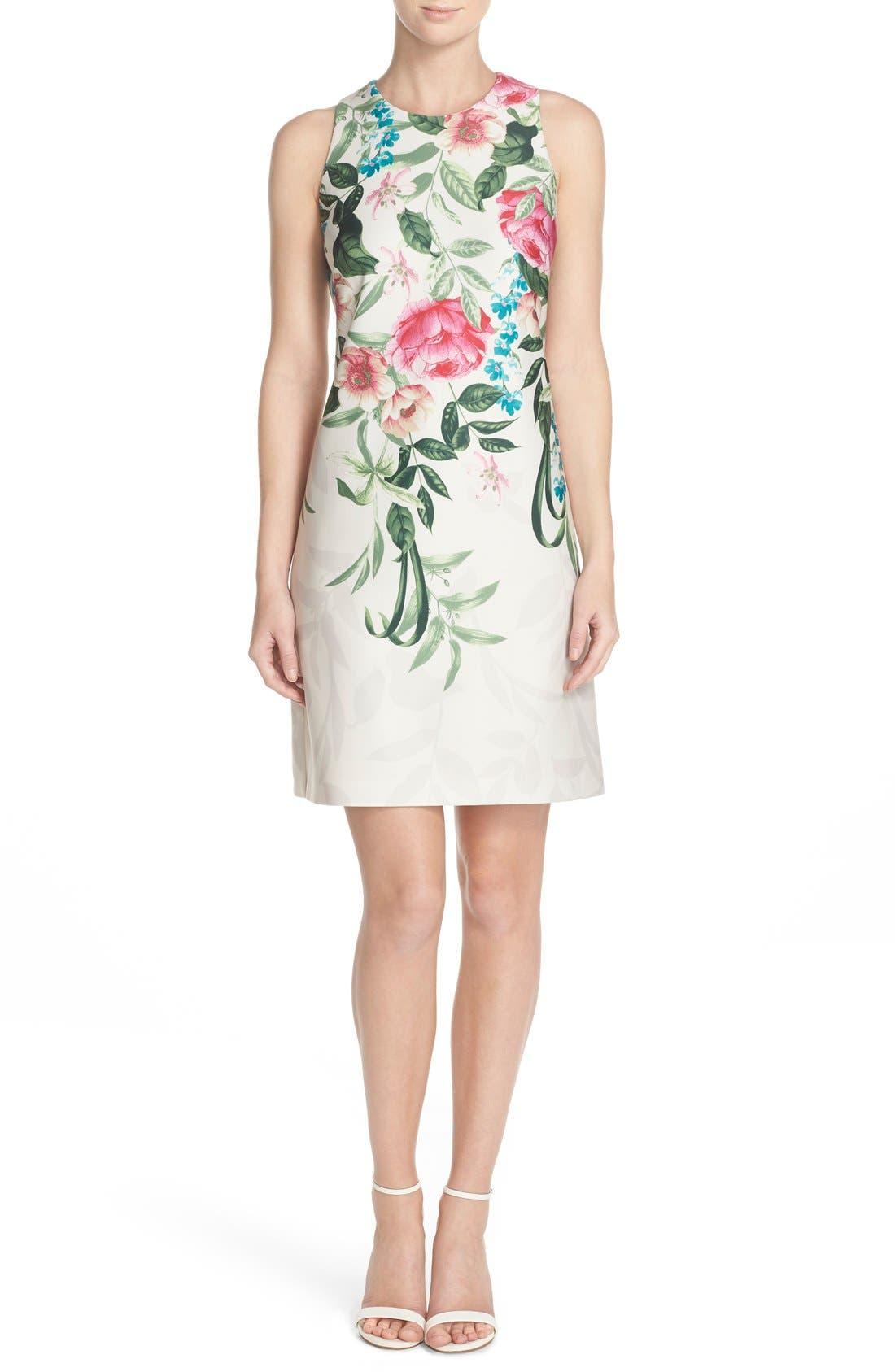 Placed Floral Print Stretch A-Line Dress,                             Alternate thumbnail 6, color,