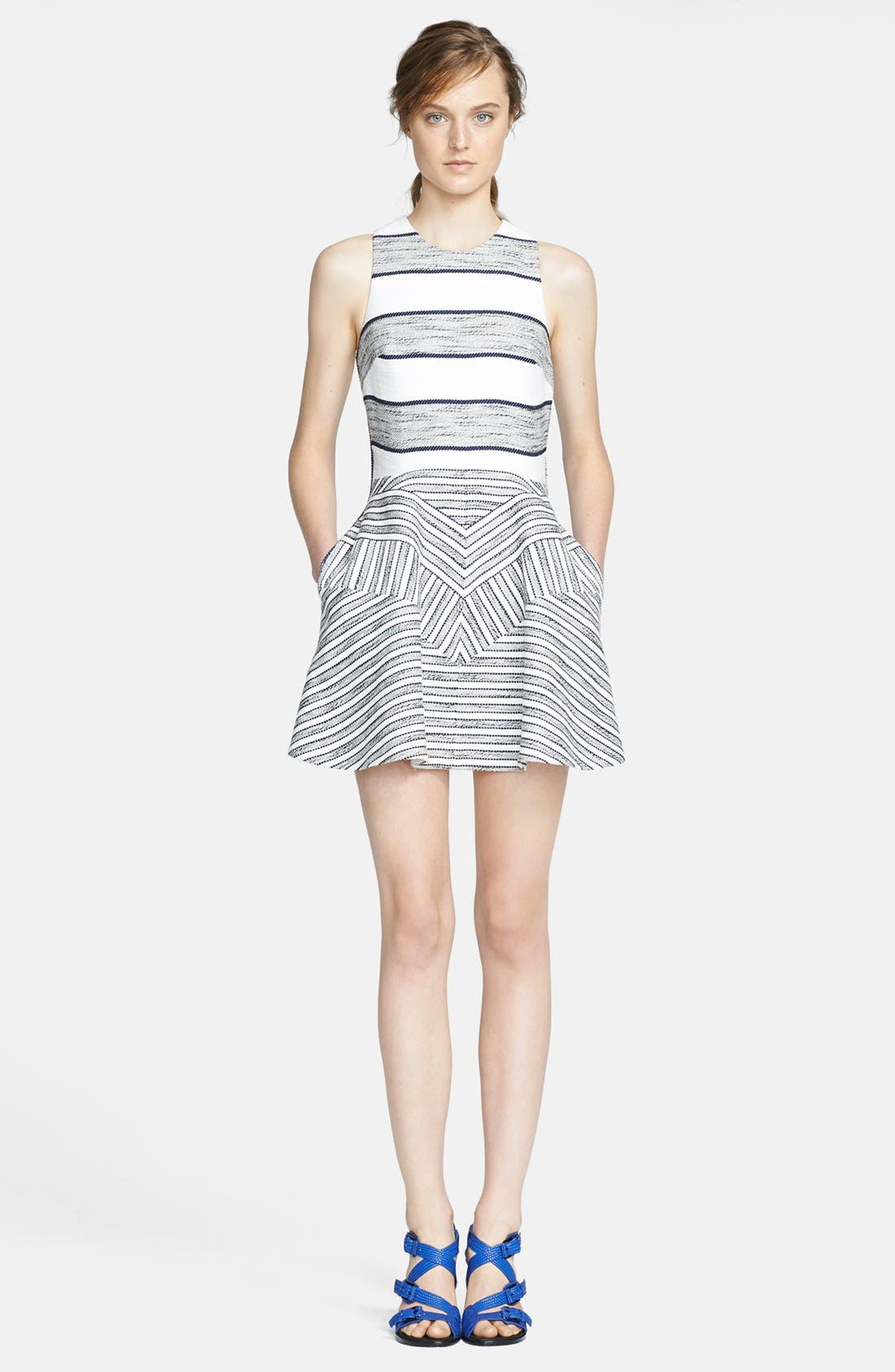 3.1 PHILLIP LIM,                             Chevron Detail Full Skirt Dress,                             Main thumbnail 1, color,                             111