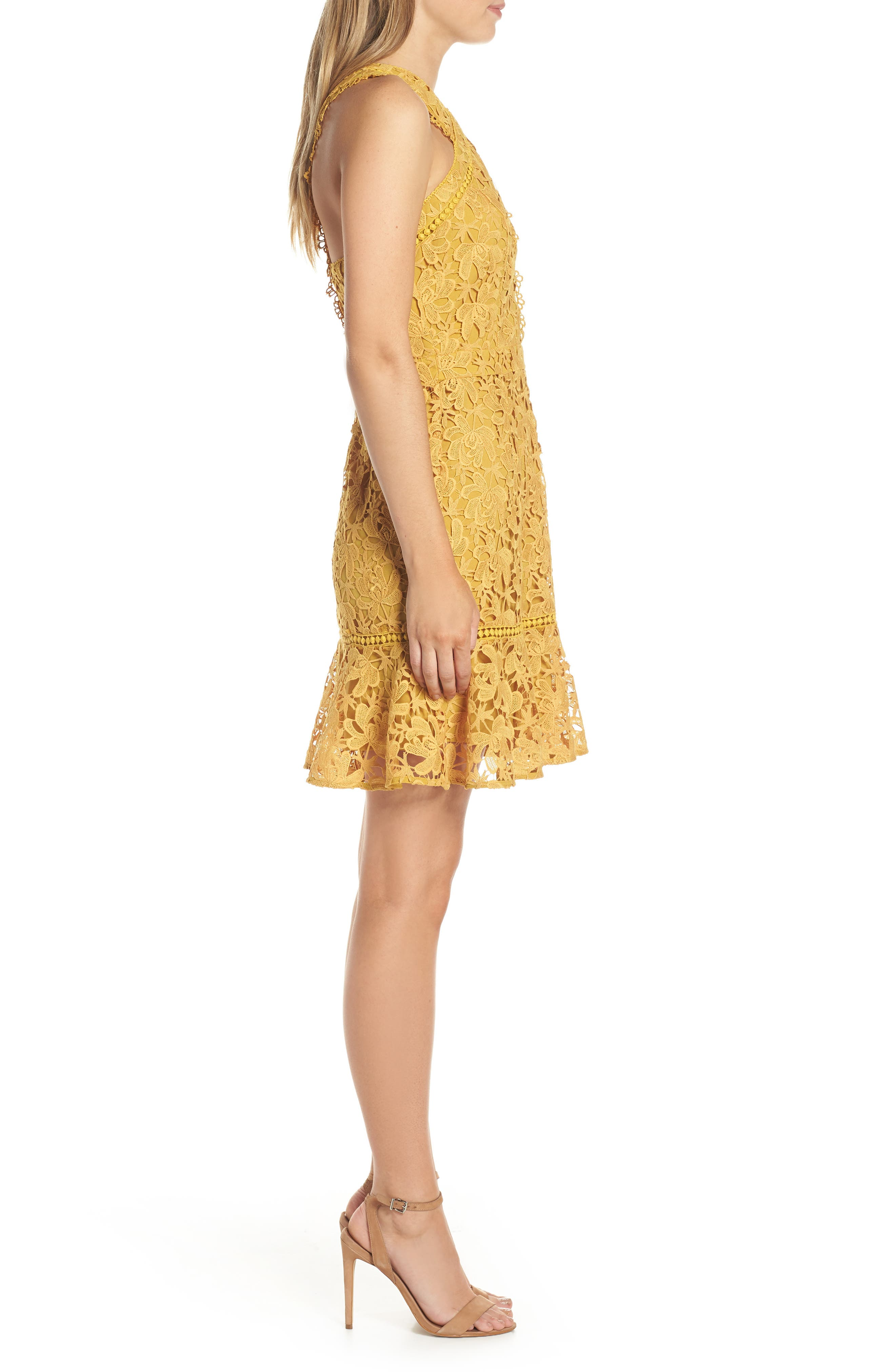 ADELYN RAE,                             Jessie Crisscross Neck Lace Dress,                             Alternate thumbnail 3, color,                             FREESIA
