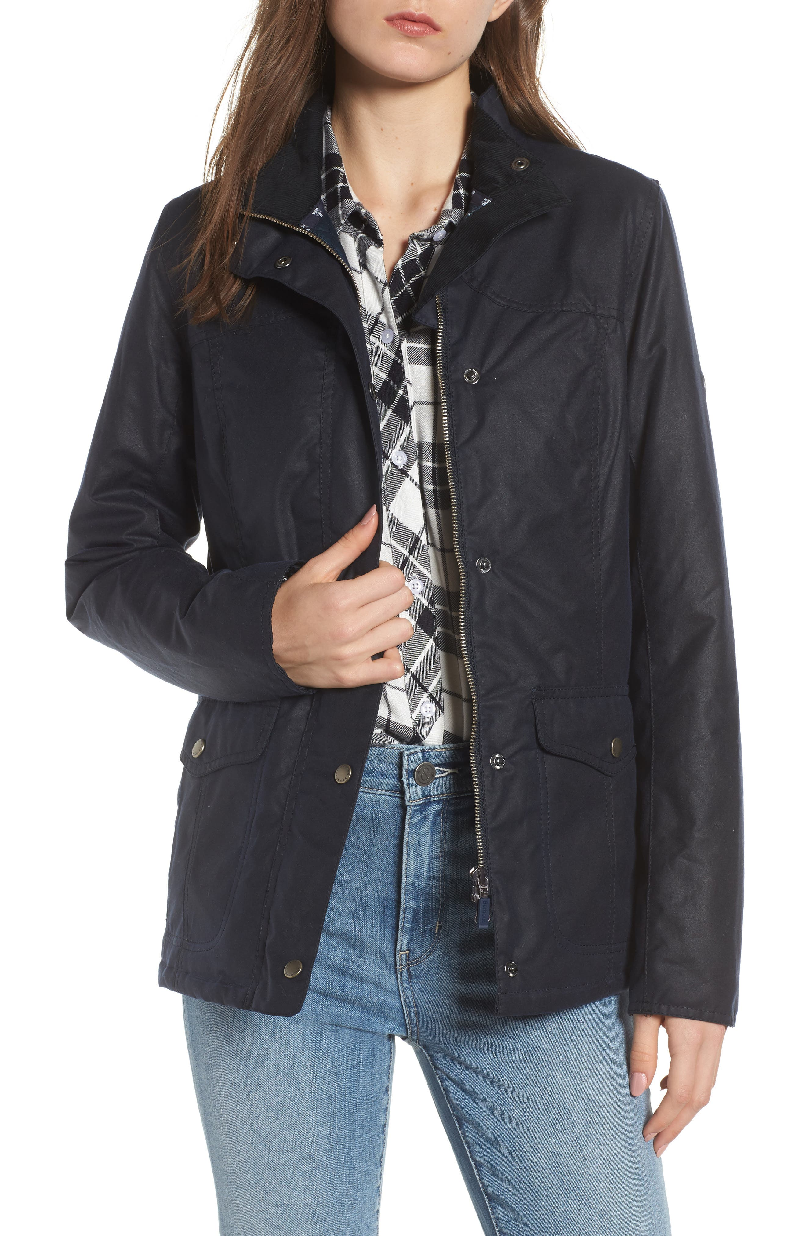 Barbour Sandsend Waxed Cotton Utility Jacket, US / 12 UK - Blue