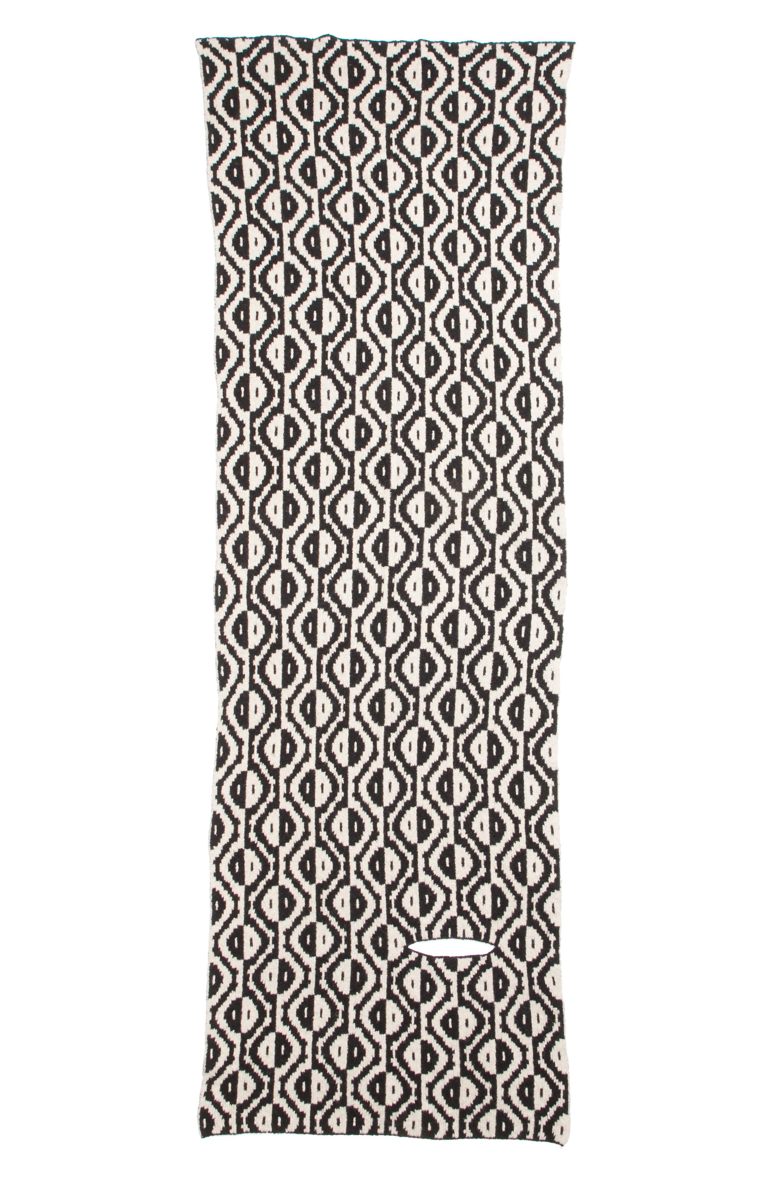 Geo Jacquard Merino Wool Blend Scarf,                             Main thumbnail 1, color,                             BLACK