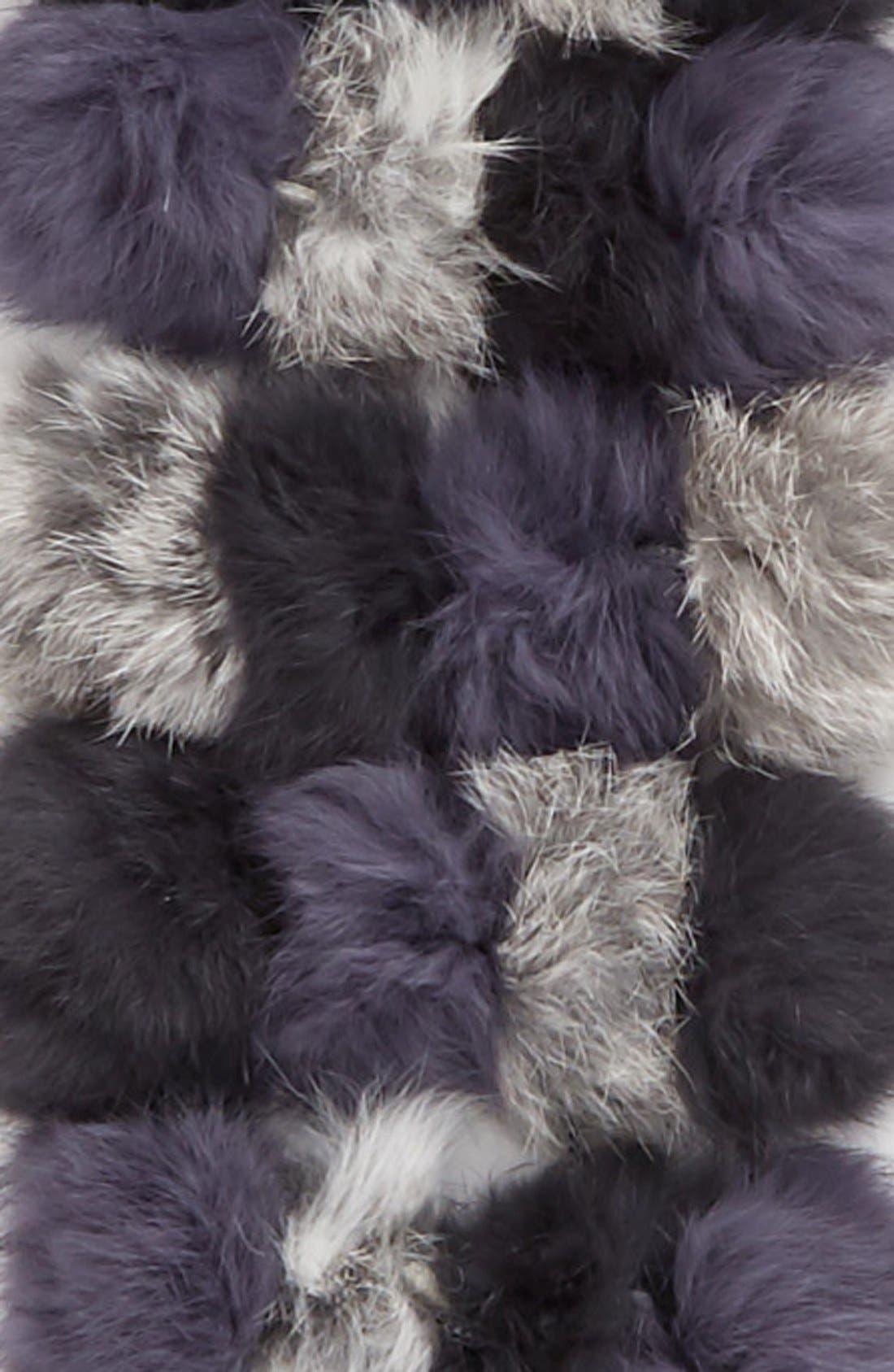LA FIORENTINA,                             Genuine Rabbit Fur Scarf,                             Alternate thumbnail 2, color,                             BLACK/GREY
