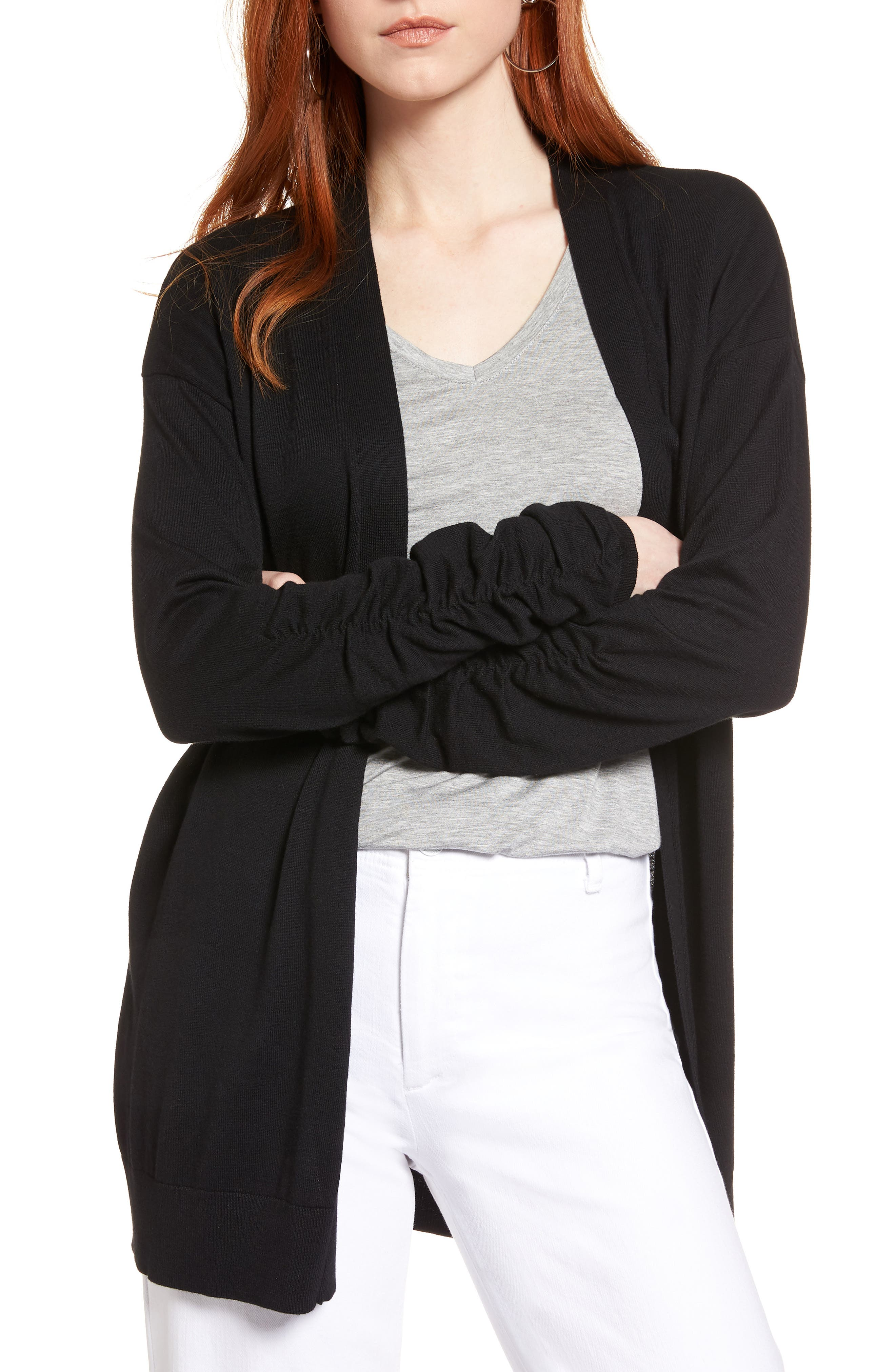 Ruched Sleeve Cardigan,                             Main thumbnail 1, color,                             001