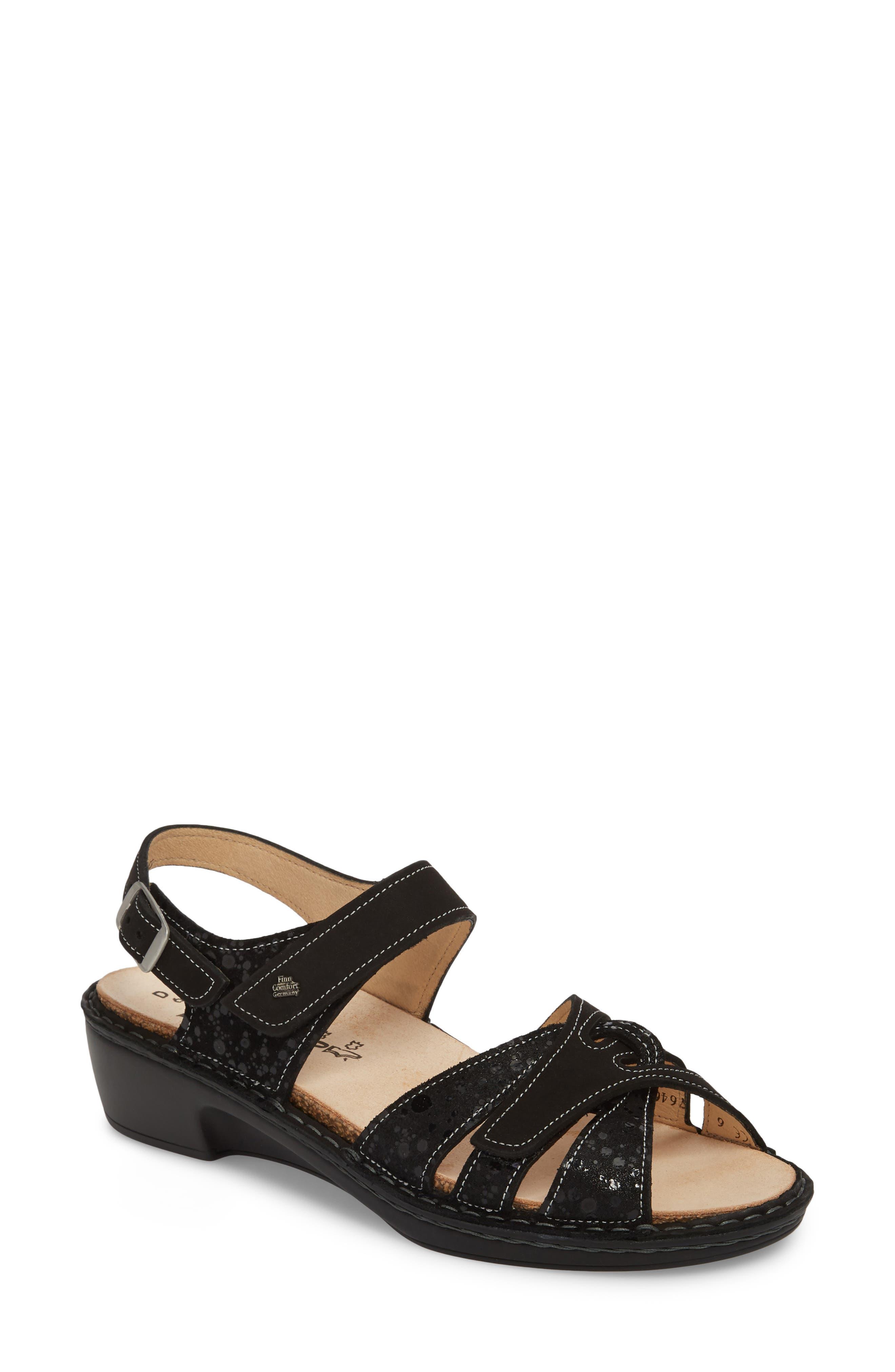 Buka Sandal,                         Main,                         color, BLACK LEATHER