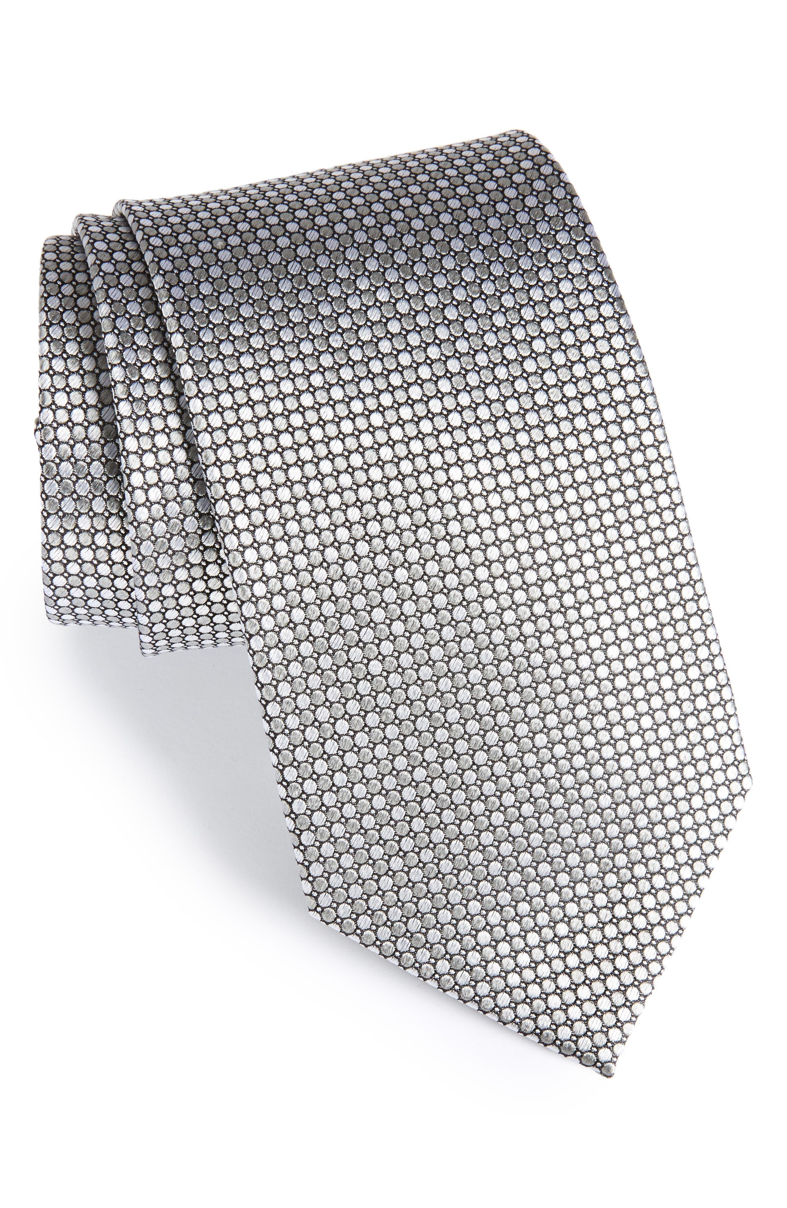 Dot Grid Silk Tie,                             Main thumbnail 1, color,                             040
