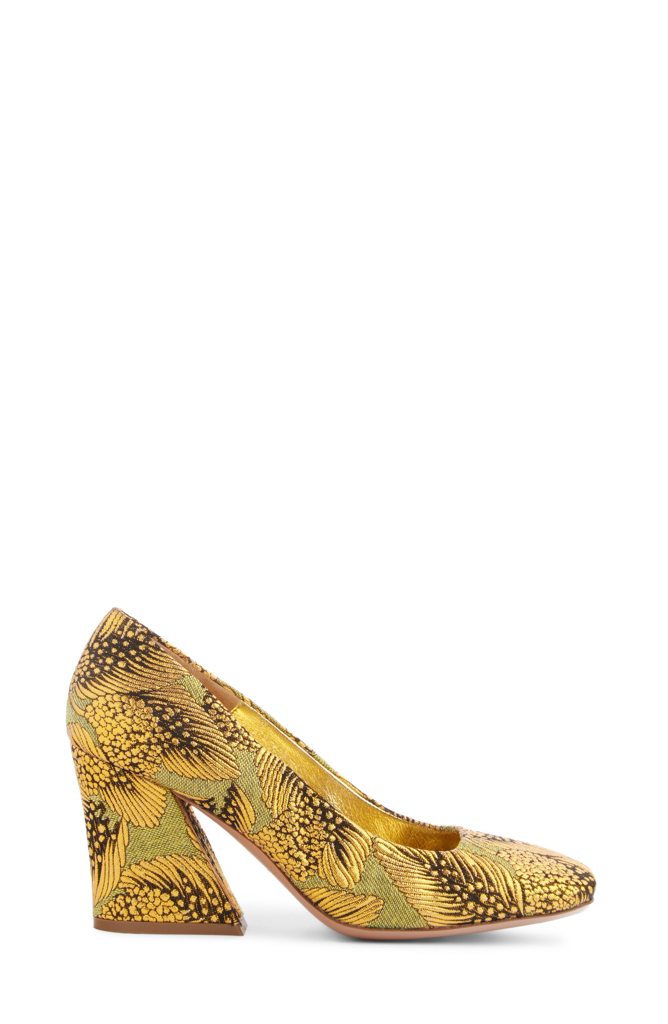 Leaf Print Angle Heel Pump,                             Alternate thumbnail 3, color,                             710