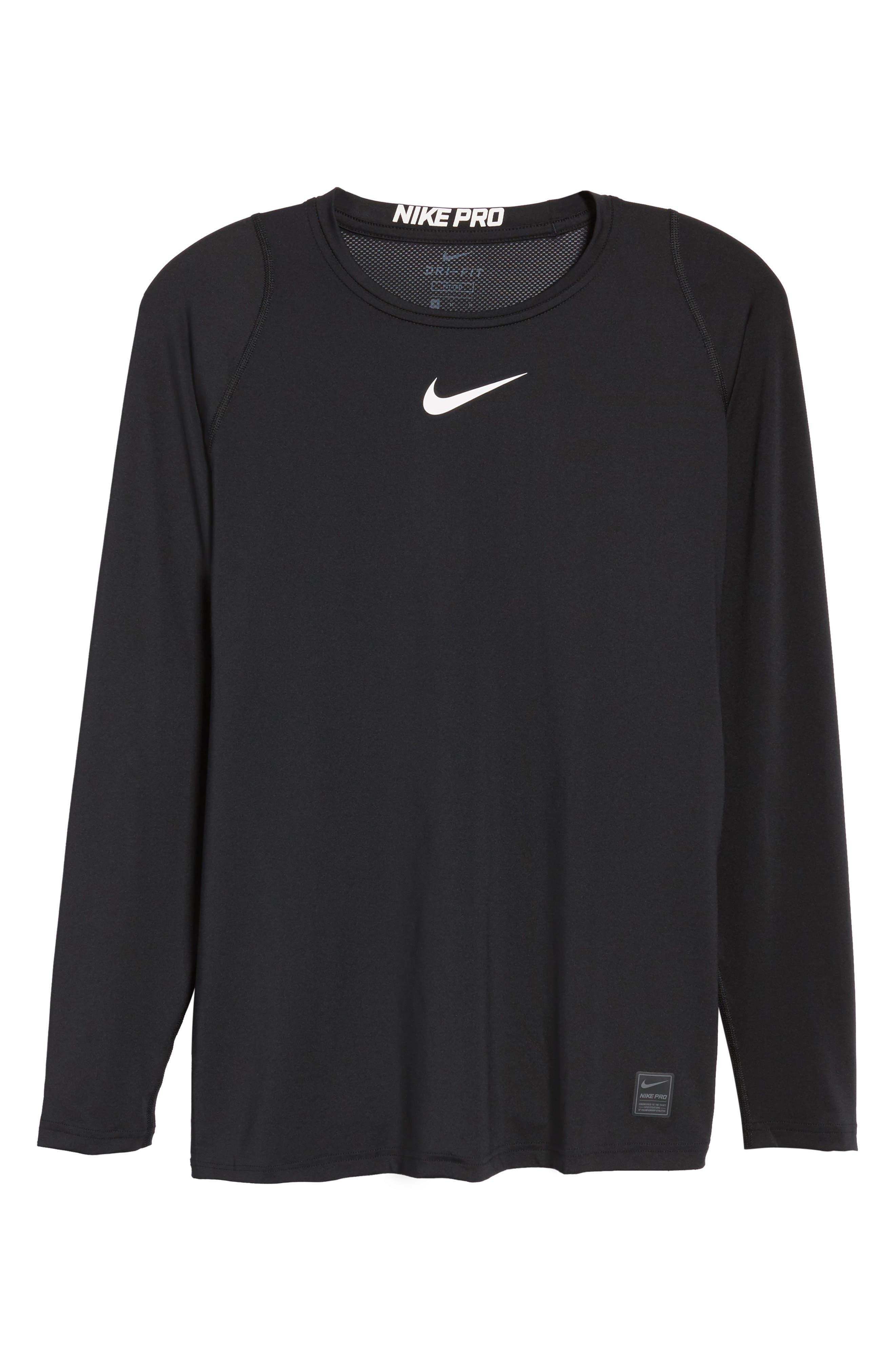 Pro Fitted Performance T-Shirt,                             Alternate thumbnail 6, color,                             BLACK/ WHITE/ WHITE