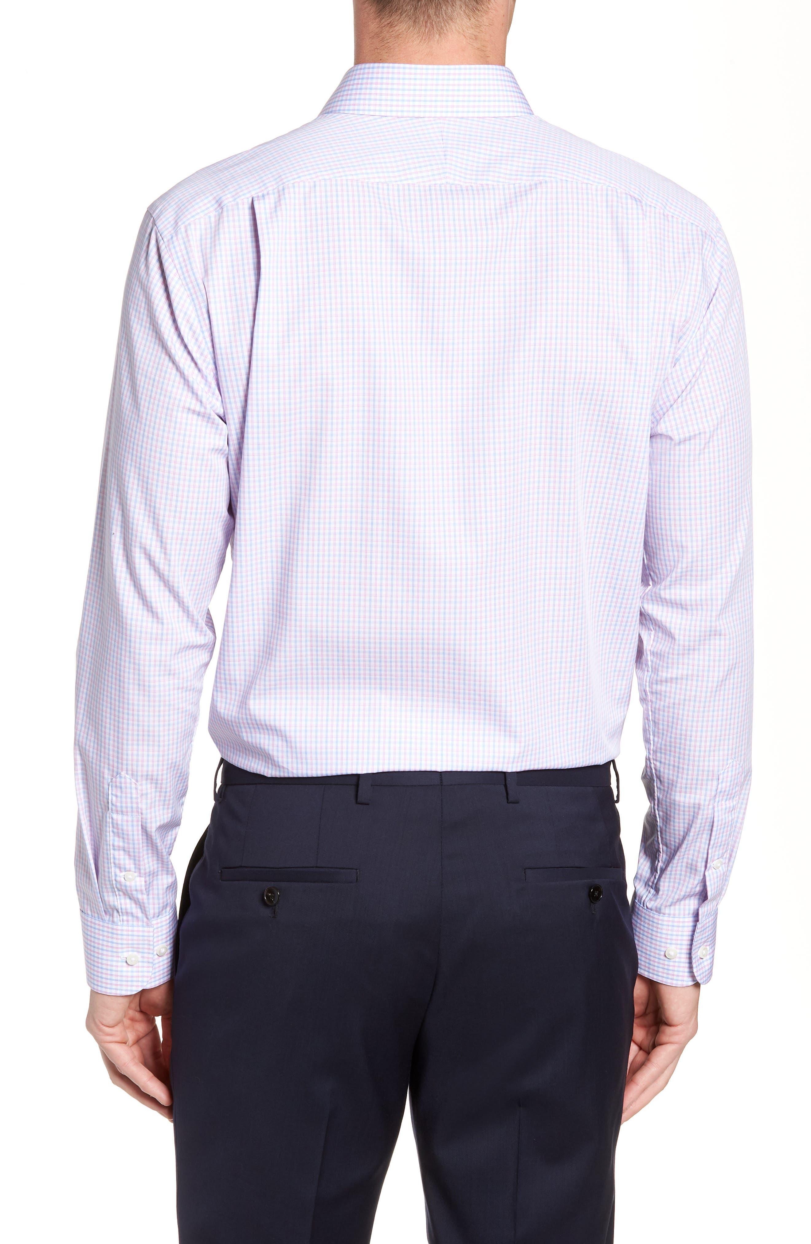 Nordstrom Trim Fit Non-Iron Check Dress Shirt,                             Alternate thumbnail 3, color,