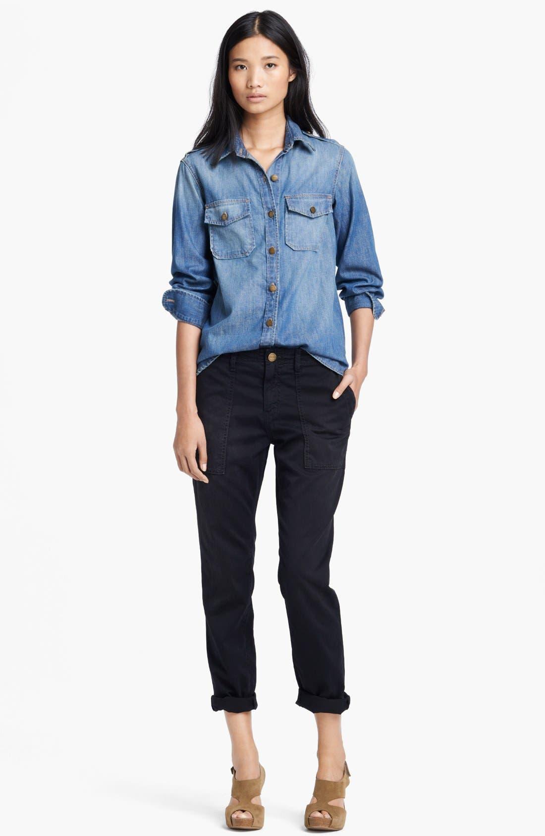 'The Perfect' Button Front Denim Shirt,                             Main thumbnail 1, color,                             450