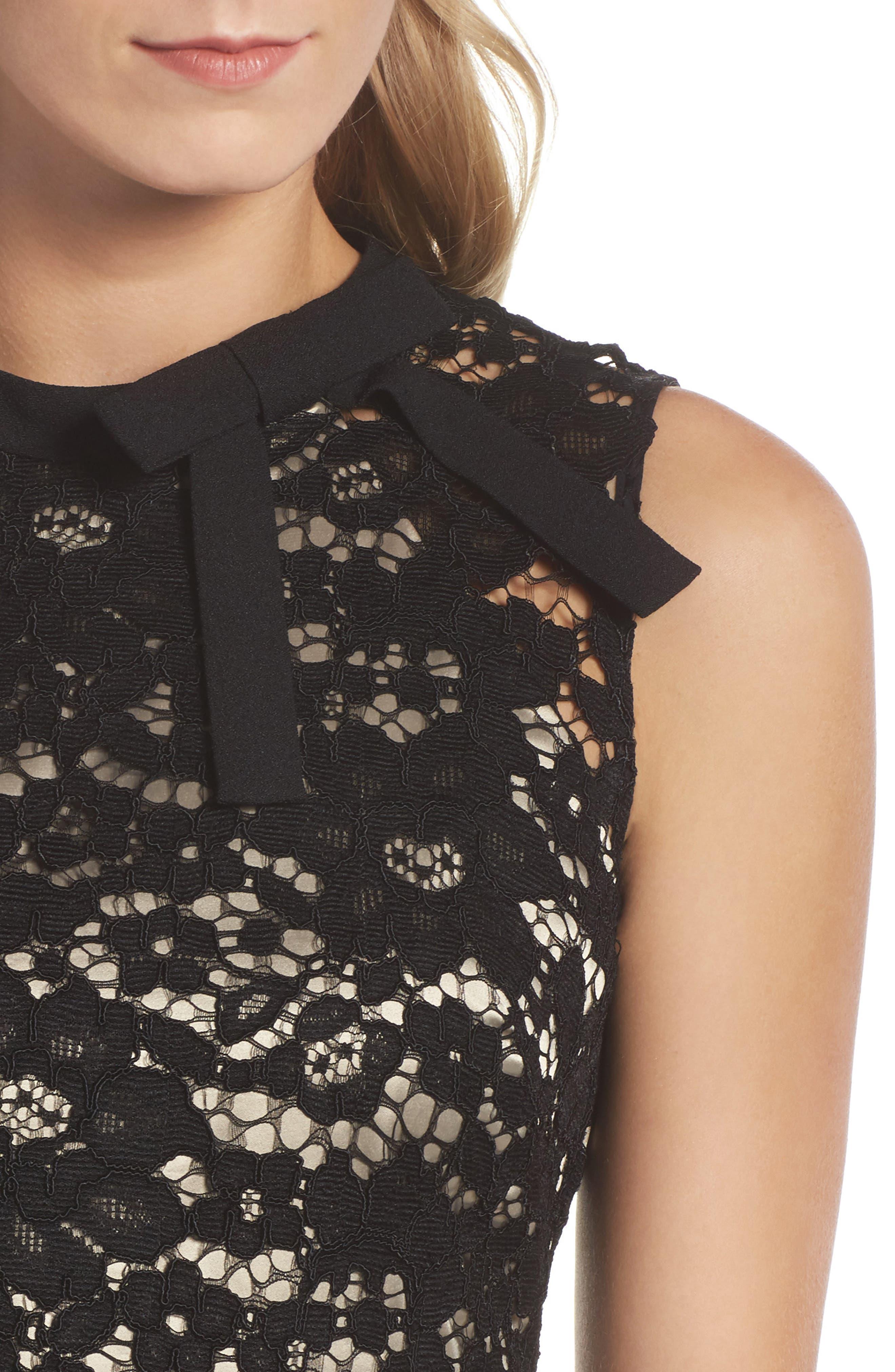Lace Sheath Dress,                             Alternate thumbnail 4, color,                             001