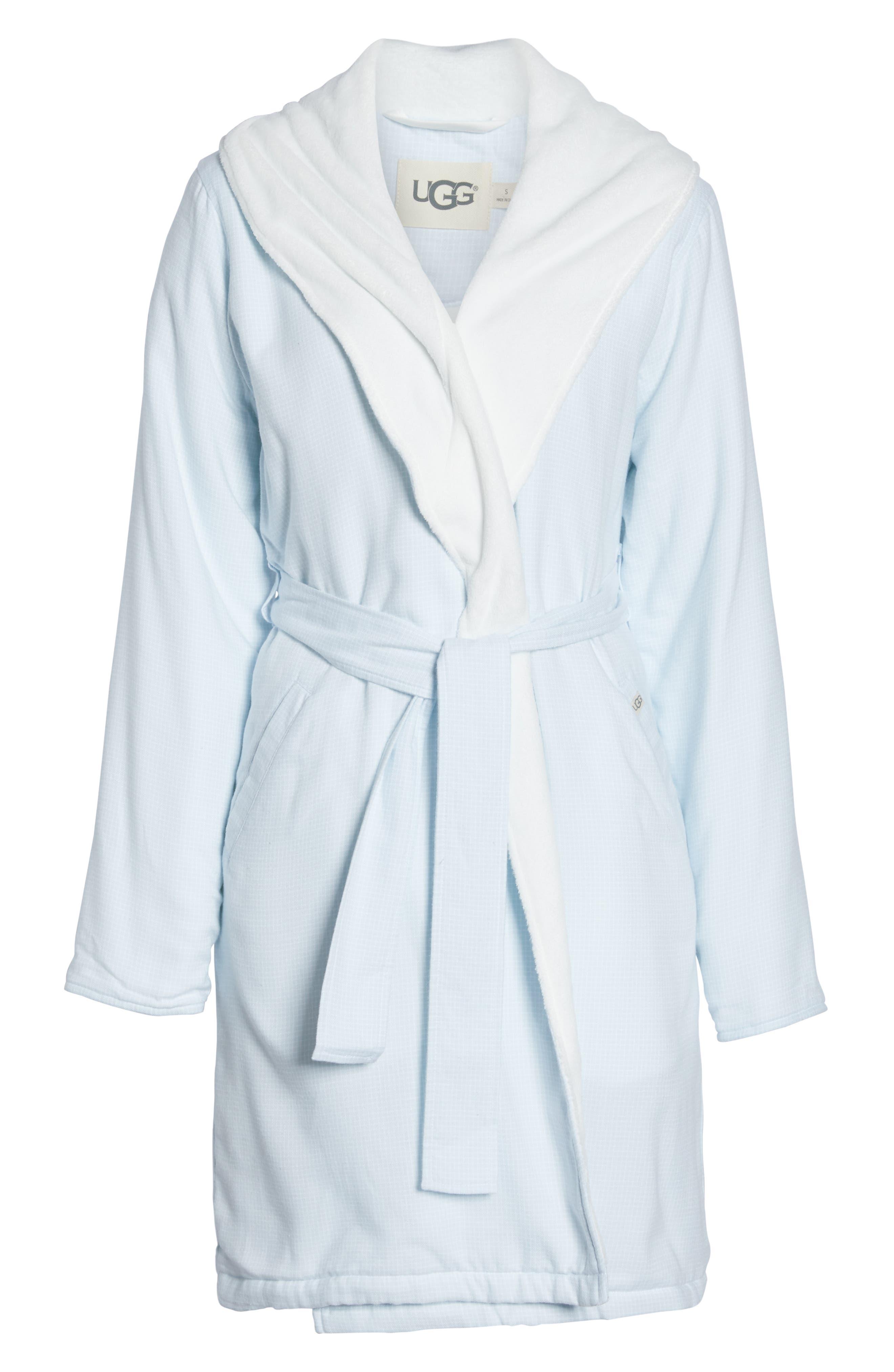 Anika Fleece Lined Flannel Robe,                             Alternate thumbnail 6, color,                             SKY BLUE / WHITE CHECK