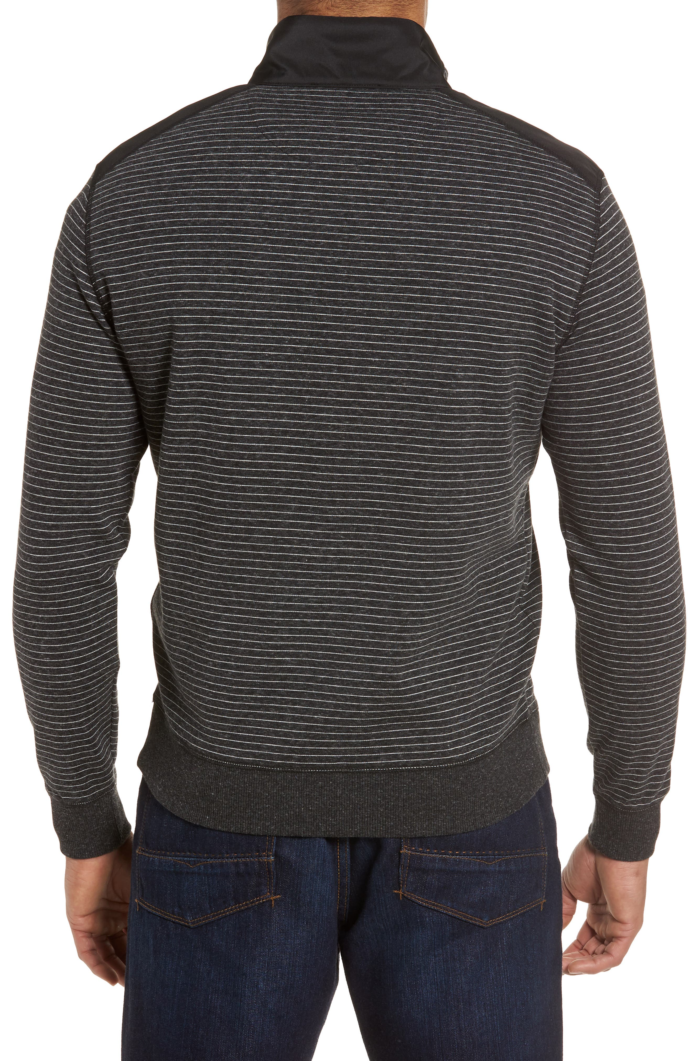 Regular Fit Stripe Quarter Zip Pullover,                             Alternate thumbnail 7, color,
