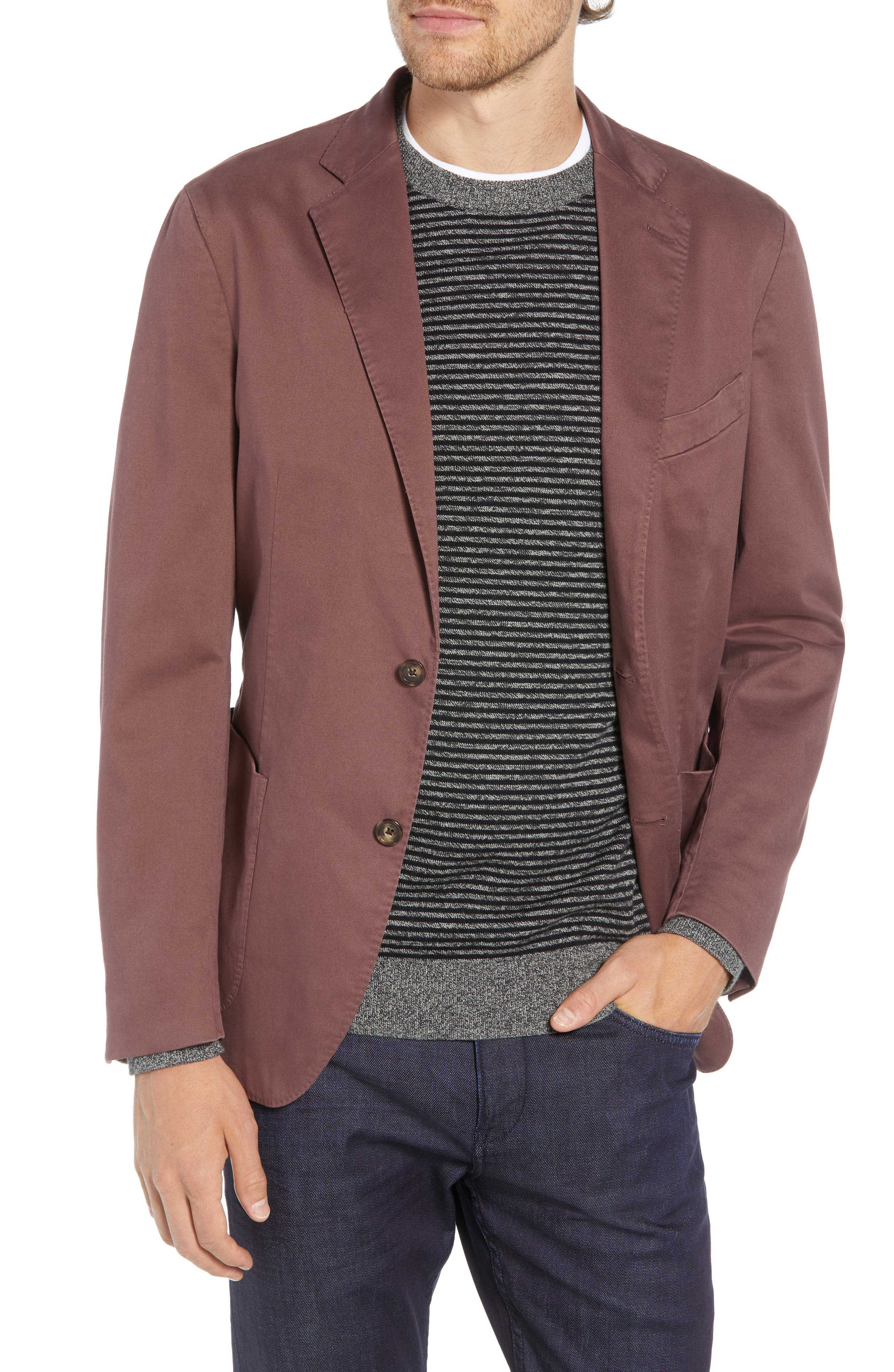 Trim Fit Stretch Cotton Blazer,                         Main,                         color, DARK RED