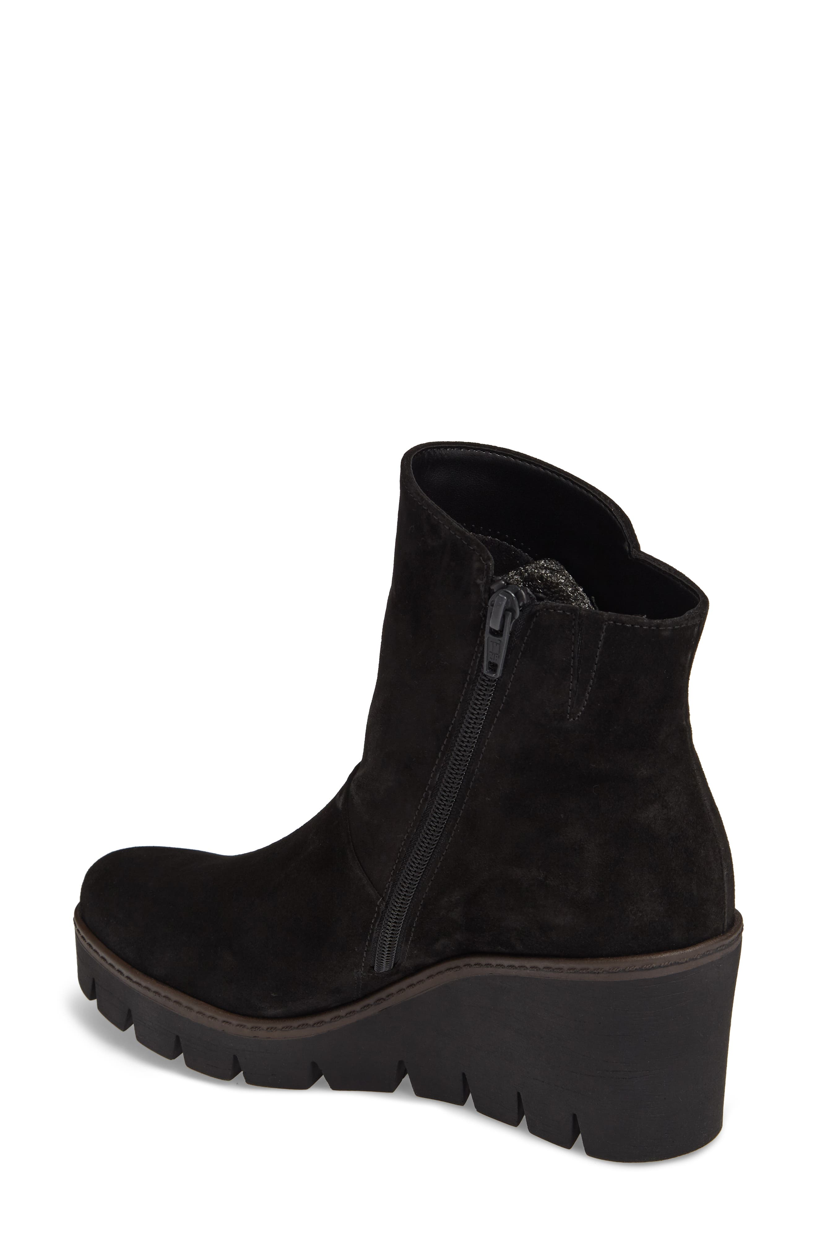 Wedge Bootie,                             Alternate thumbnail 2, color,                             BLACK SUEDE
