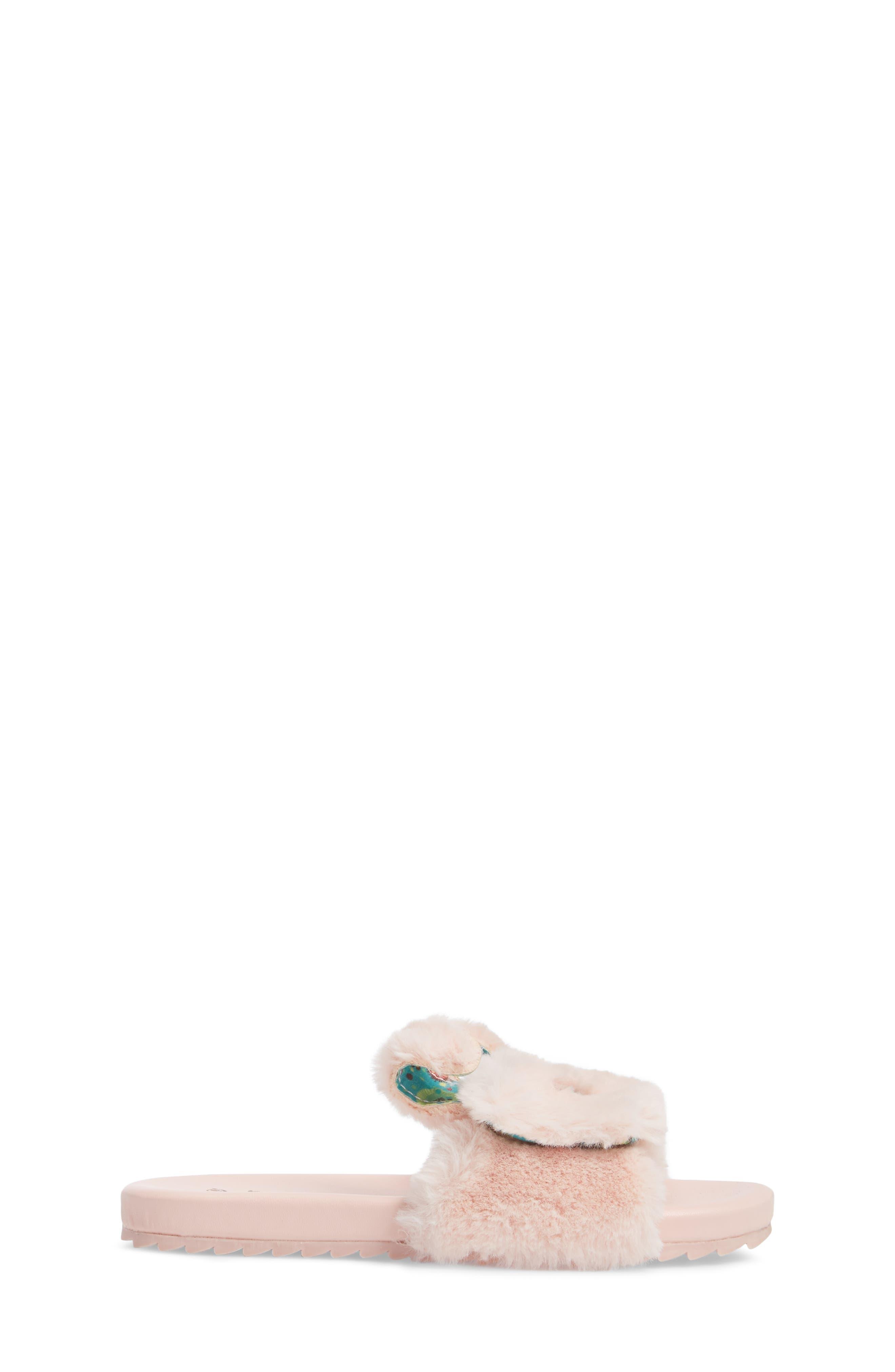 Willa Carrot Faux Fur Slide Sandal,                             Alternate thumbnail 3, color,                             650