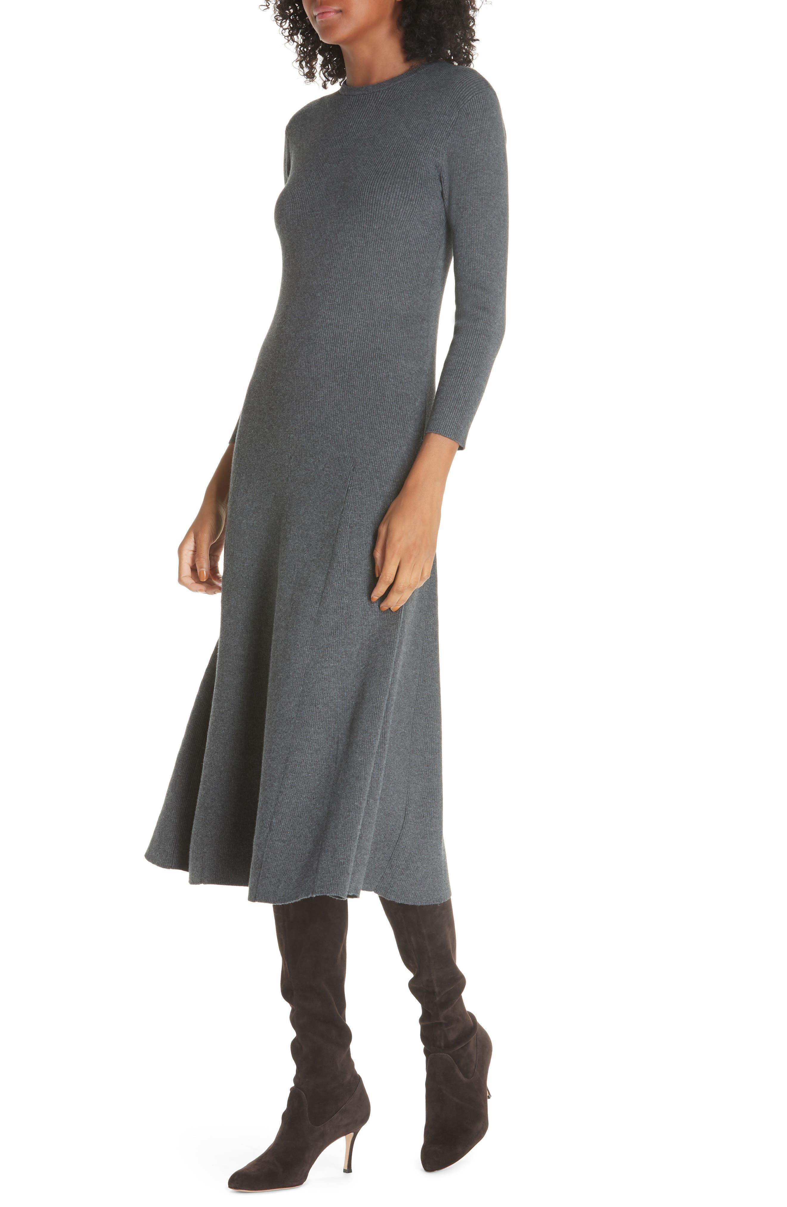 Midi Sweater Dress,                             Alternate thumbnail 4, color,                             020