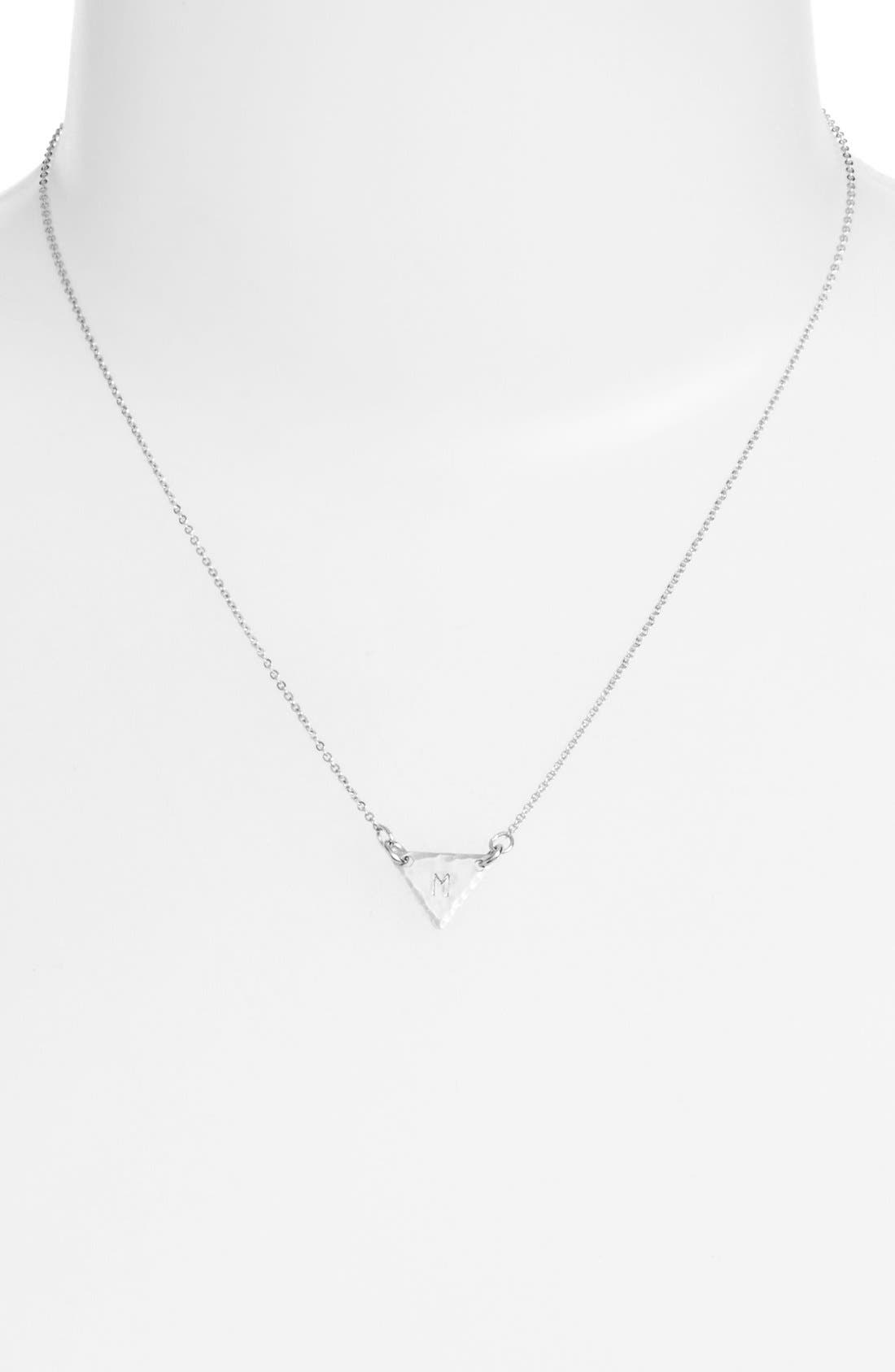 Sterling Silver Initial Mini Triangle Necklace,                             Alternate thumbnail 39, color,