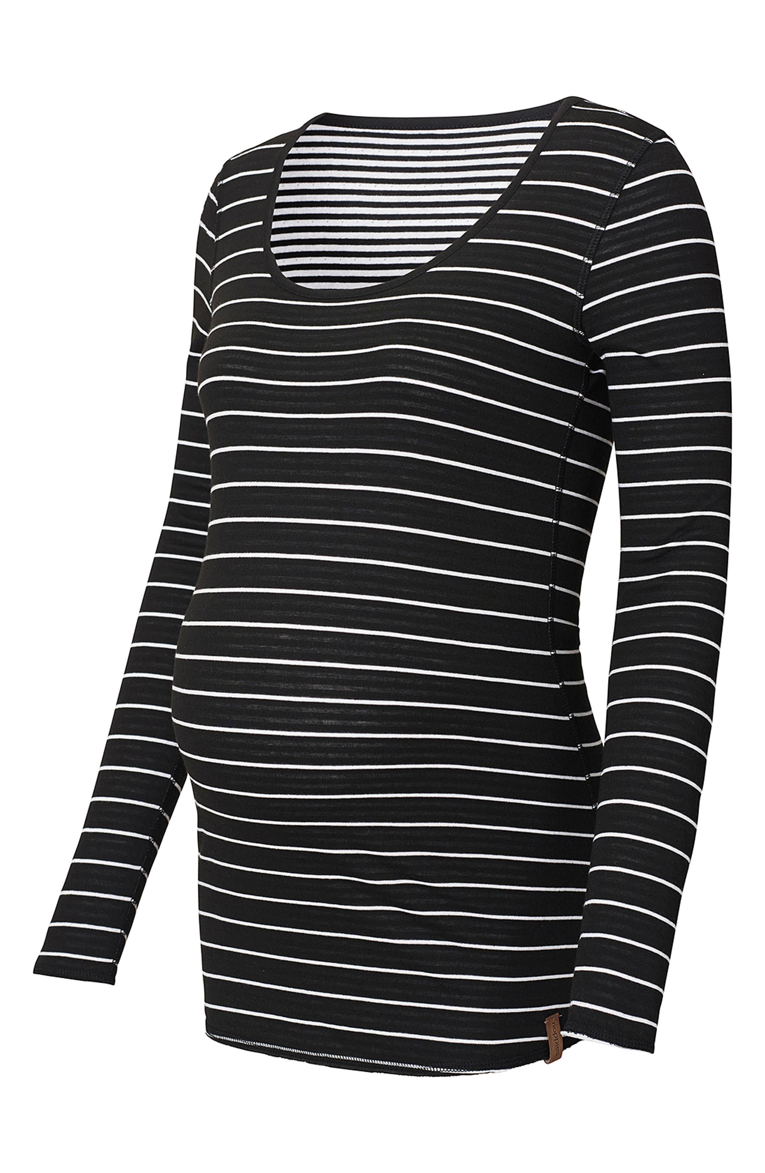 Ivy Stripe Maternity Shirt,                             Alternate thumbnail 2, color,                             BLACK