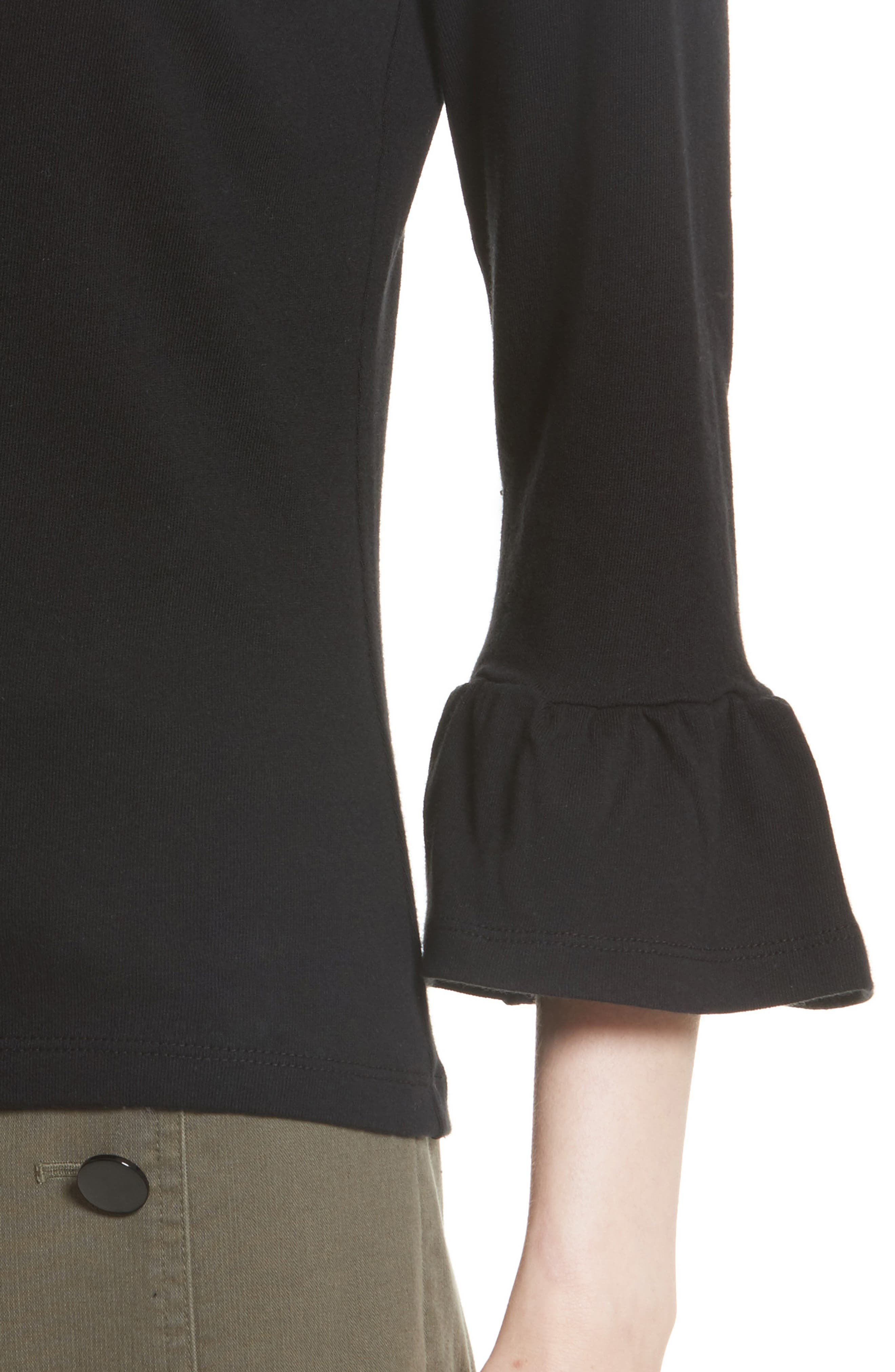 flounce sleeve knit top,                             Alternate thumbnail 4, color,                             001