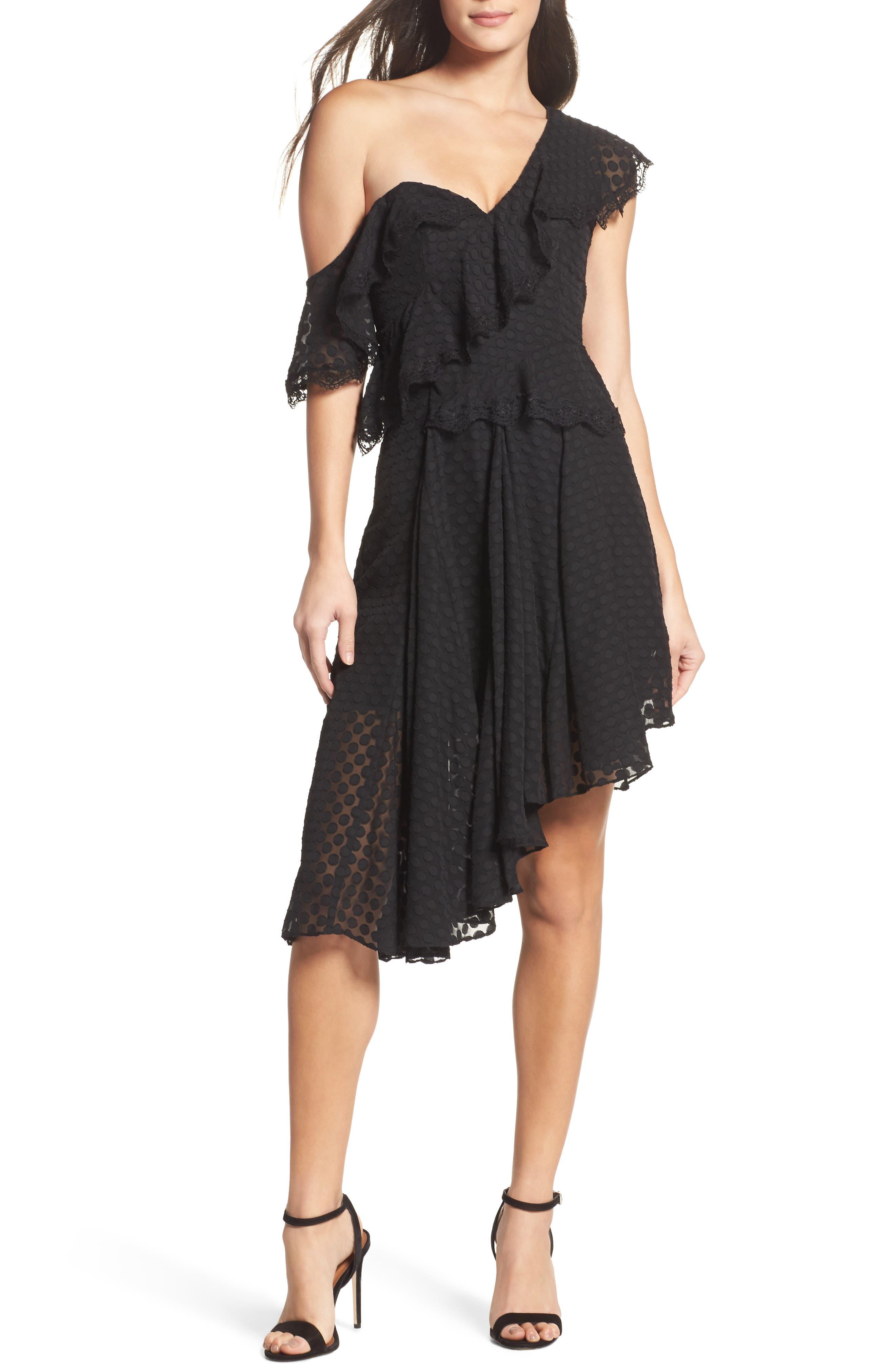 Señorita One-Shoulder Dot Chiffon Dress,                         Main,                         color, 001
