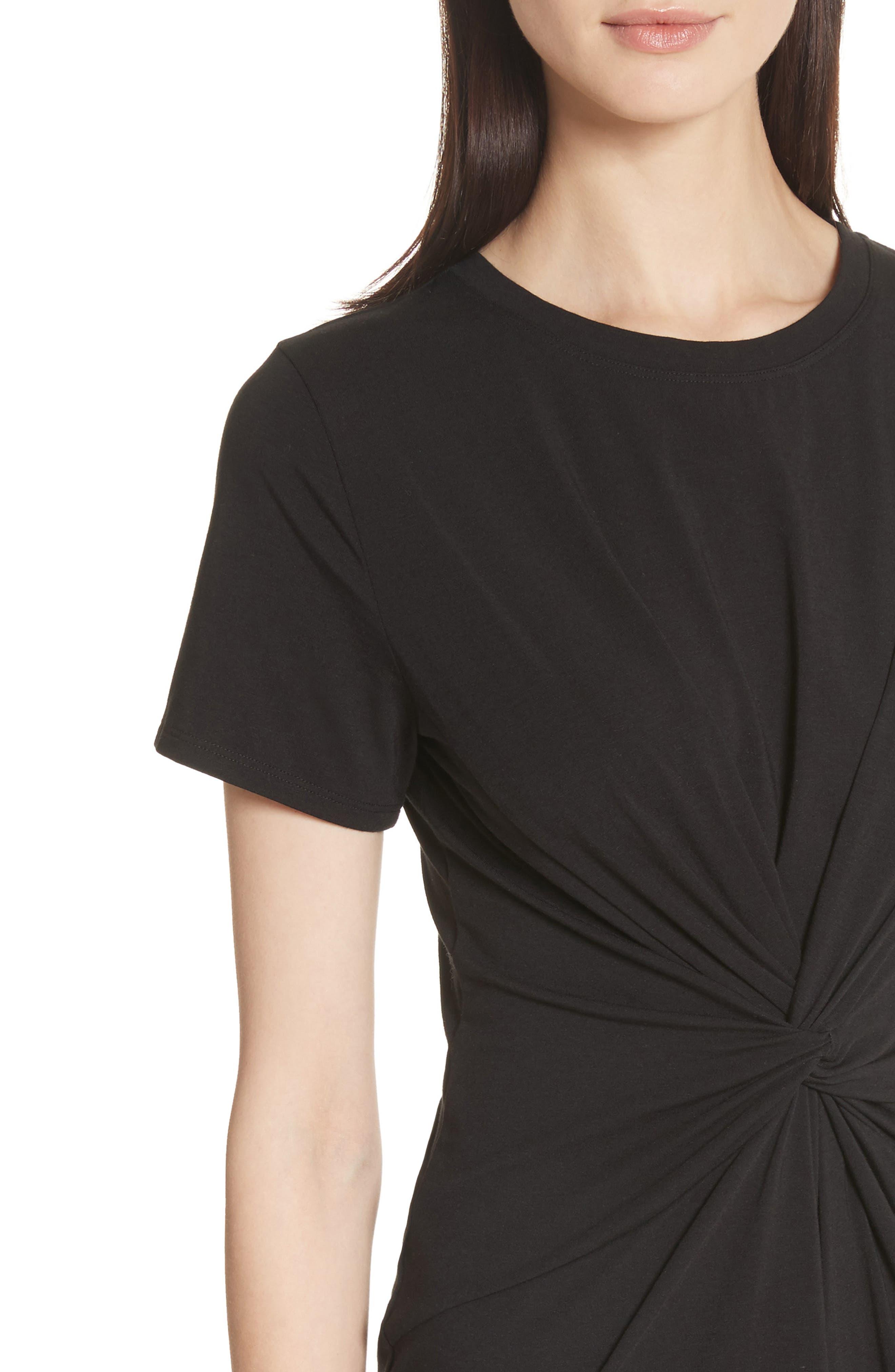 Rubri Knotted T-Shirt Dress,                             Alternate thumbnail 4, color,                             BLACK MULTI