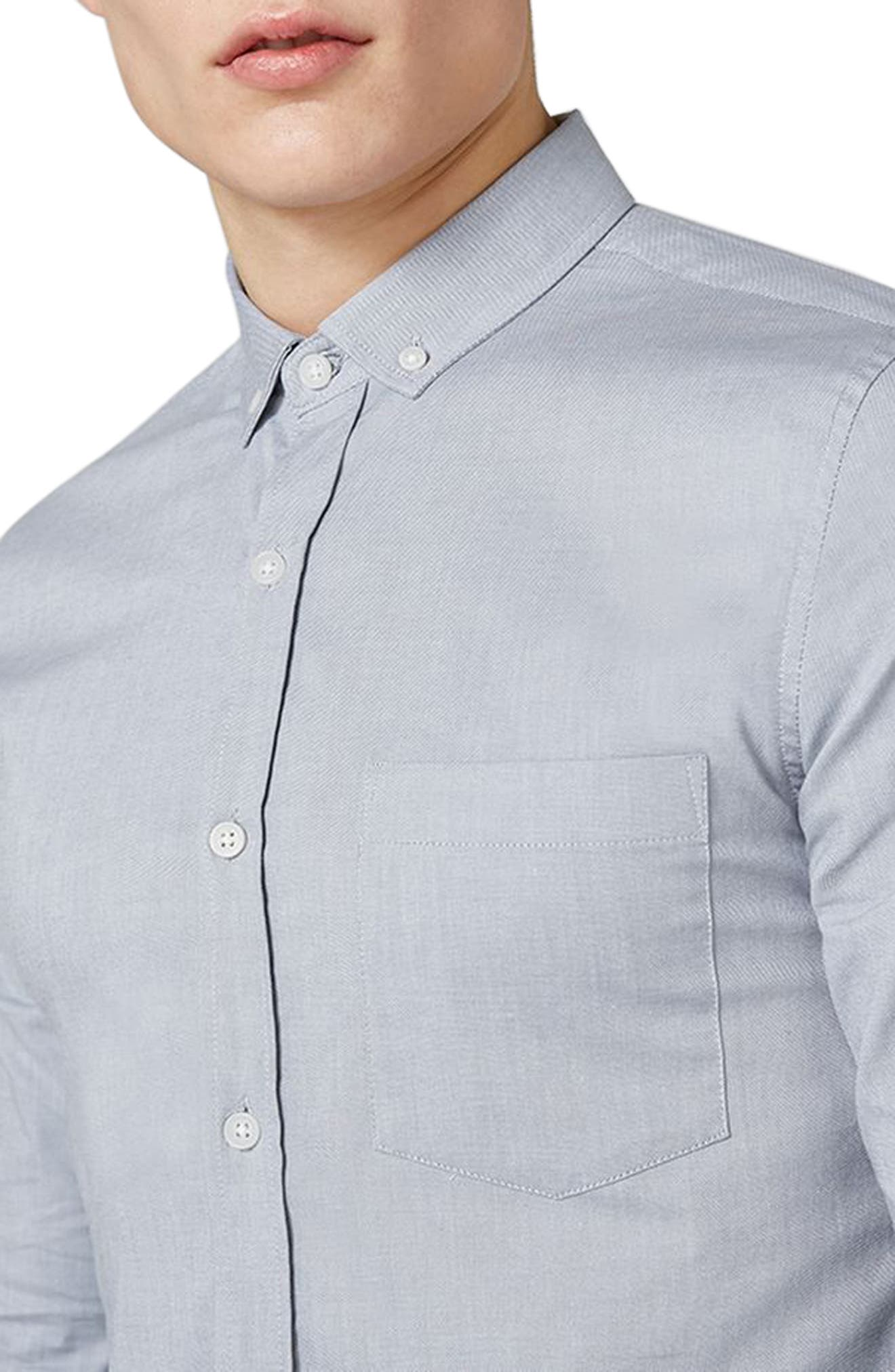 Muscle Fit Oxford Shirt,                             Alternate thumbnail 3, color,                             GREY