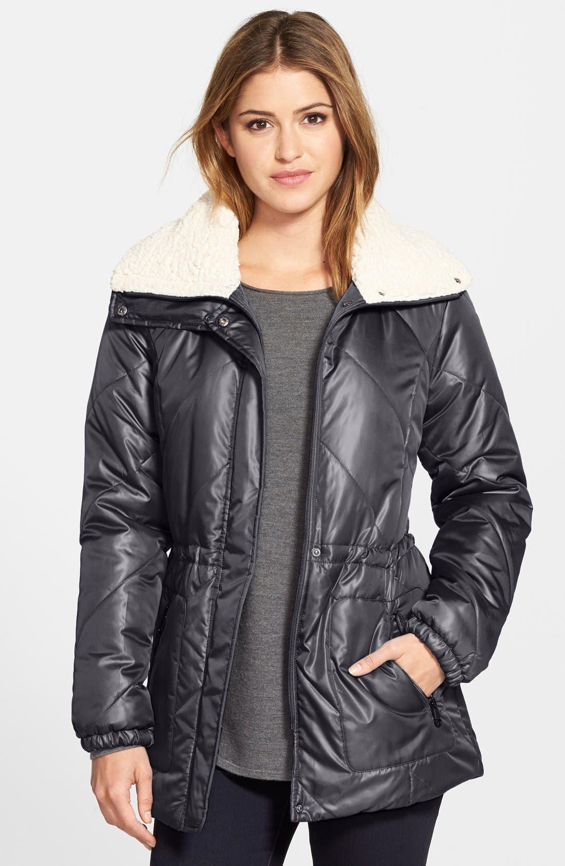 Faux Shearling Trim Puffer Coat,                             Main thumbnail 1, color,                             081