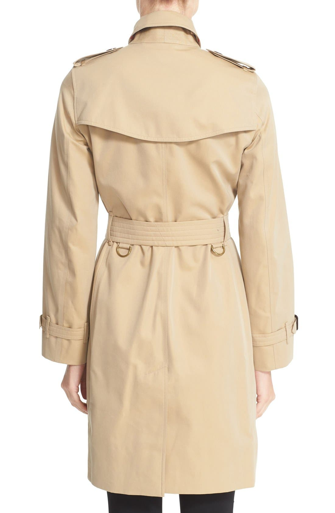 Kensington Long Trench Coat,                             Alternate thumbnail 2, color,                             HONEY