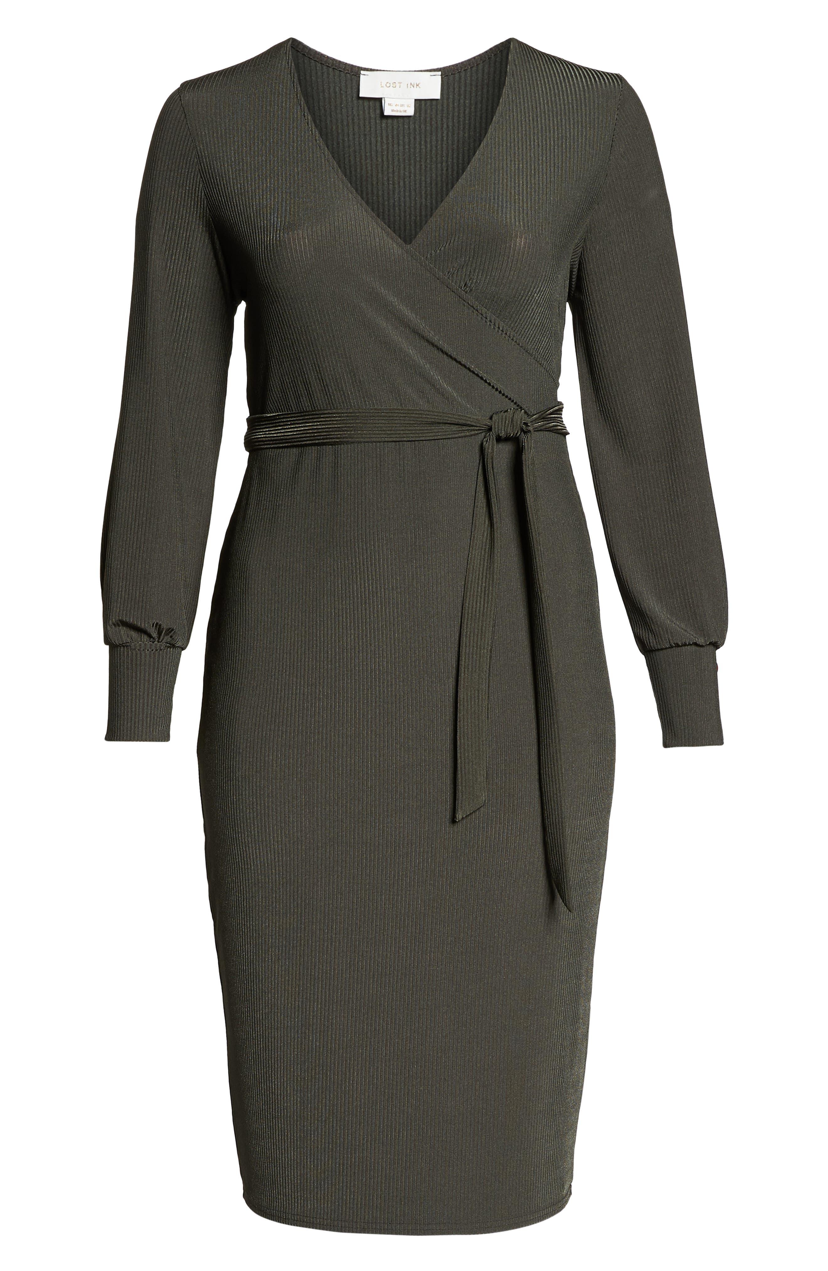 Ribbed Faux Wrap Dress,                             Alternate thumbnail 7, color,                             300