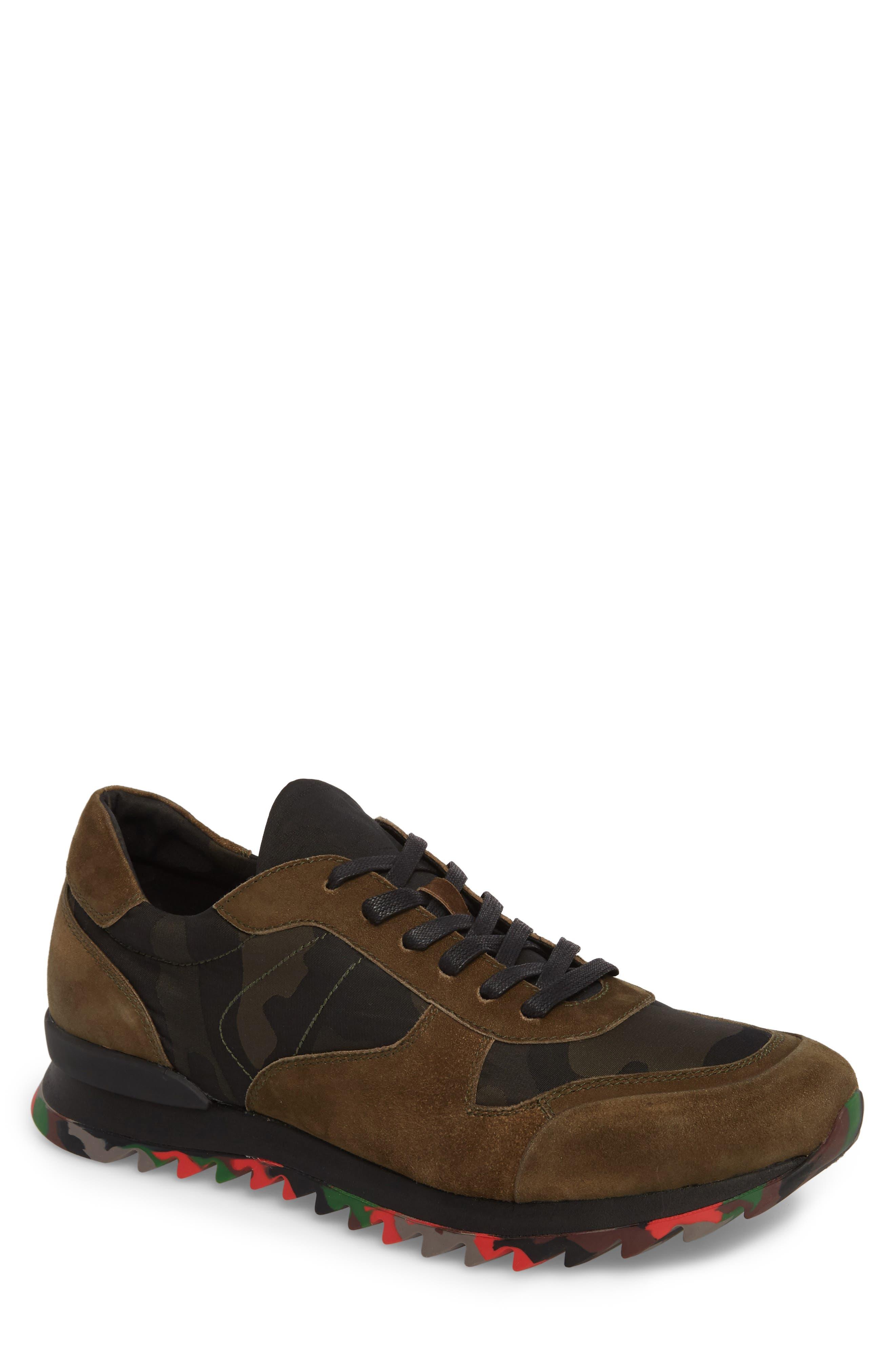 Camo Print Sneaker,                         Main,                         color, OLIVE