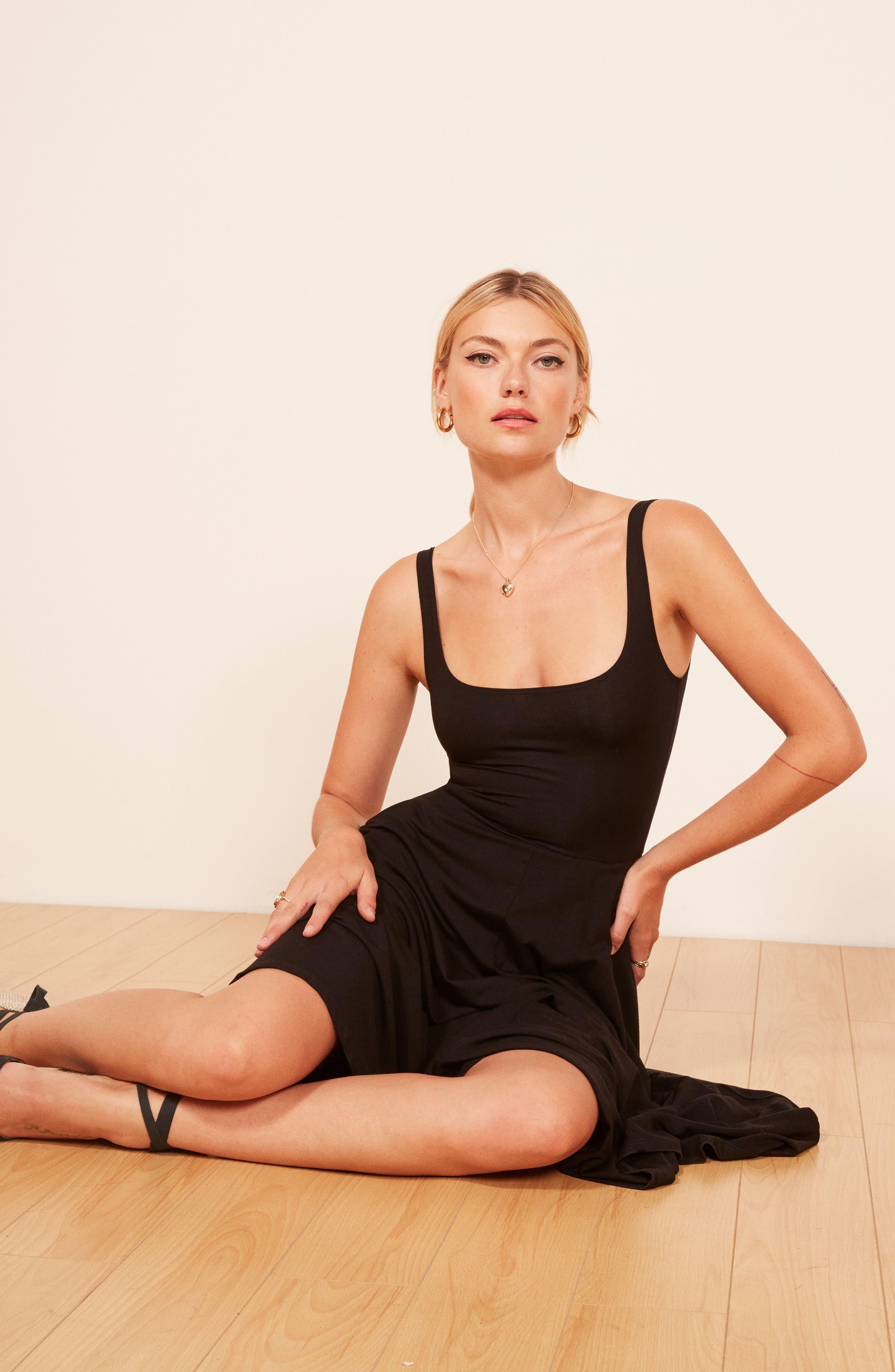 REFORMATION,                             Rou Midi Fit & Flare Dress,                             Alternate thumbnail 5, color,                             BLACK