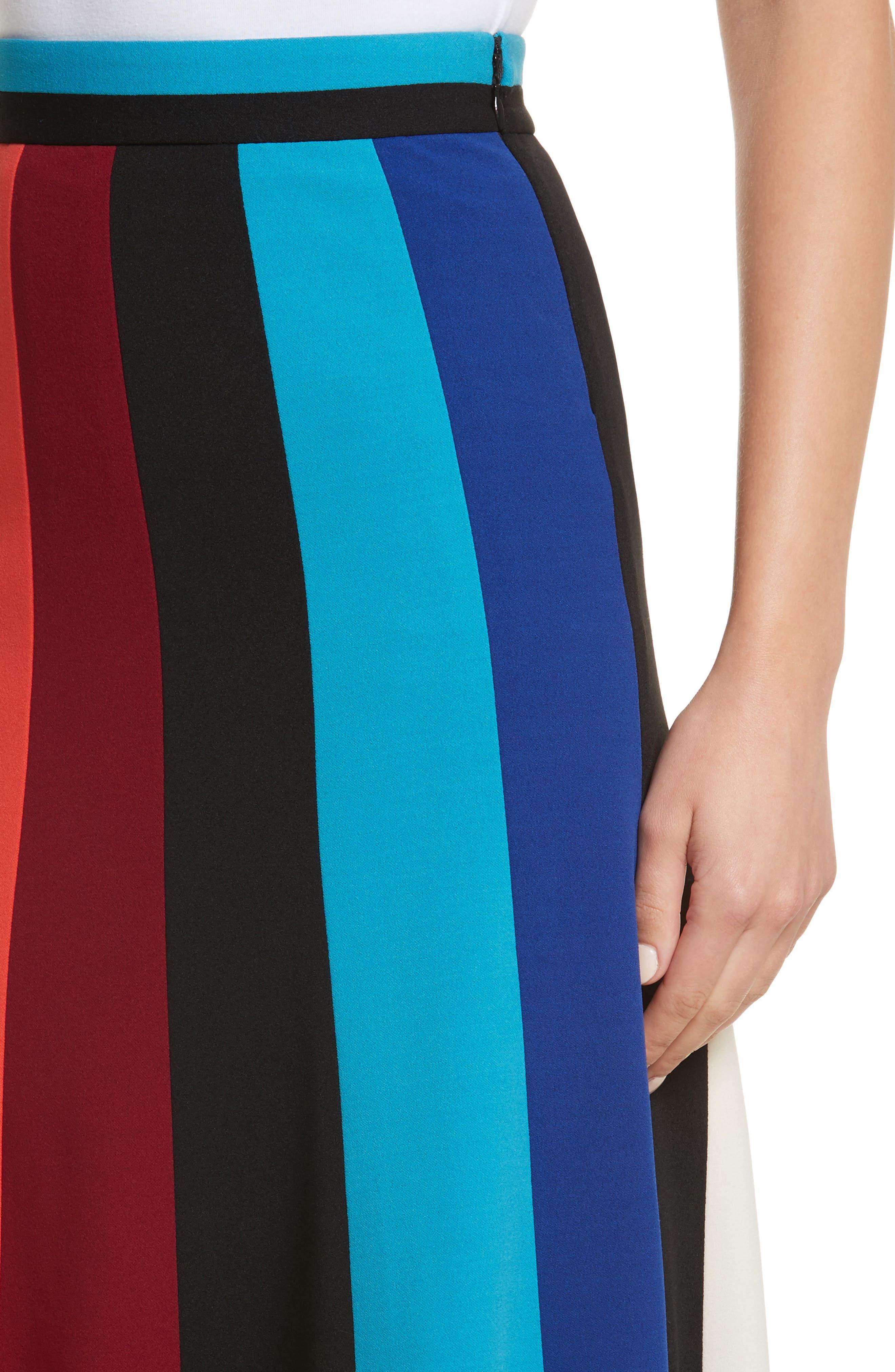 Colorblock Stripe Flared Skirt,                             Alternate thumbnail 4, color,                             498