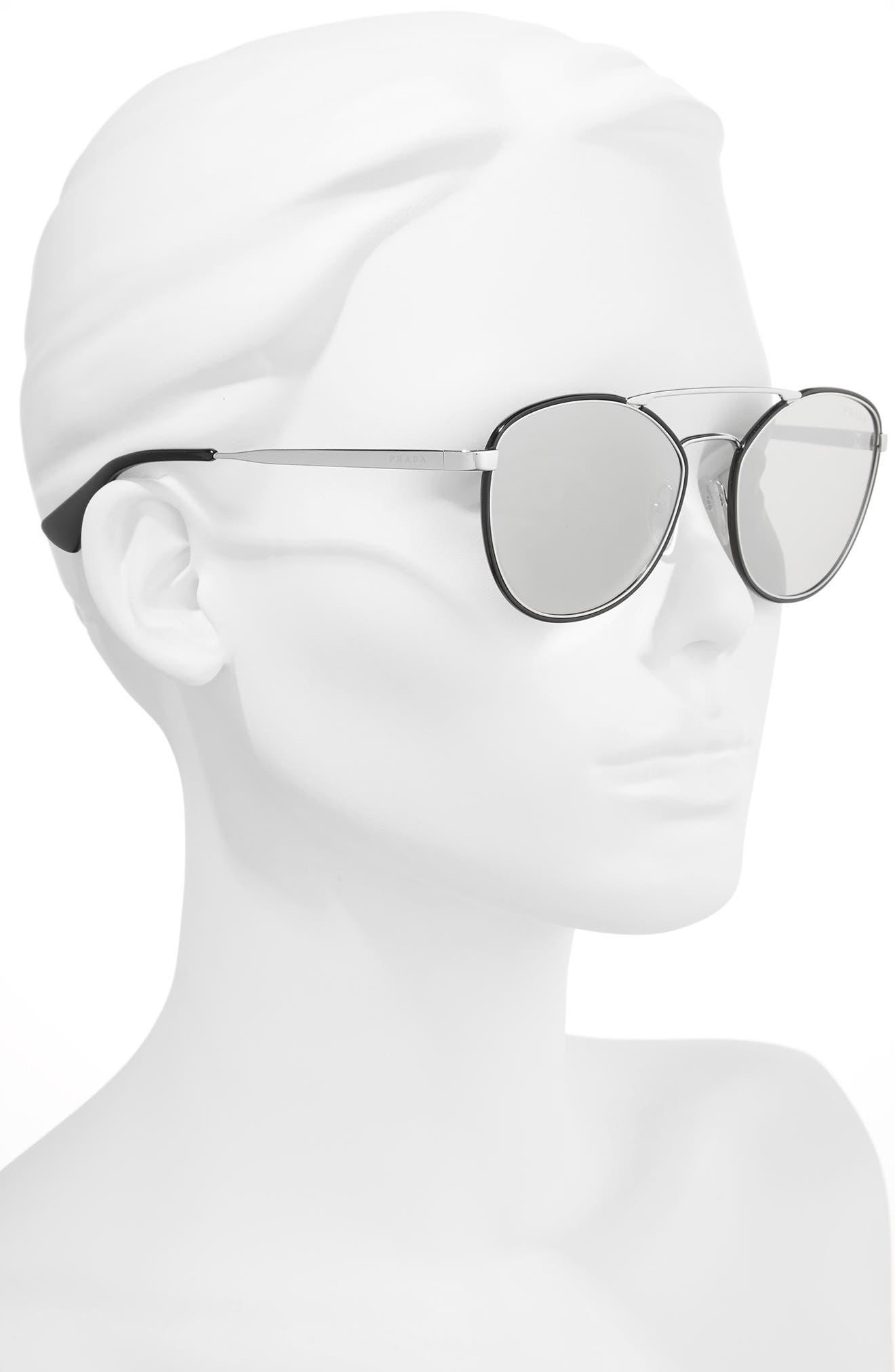 55mm Mirrored Aviator Sunglasses,                             Alternate thumbnail 2, color,                             001