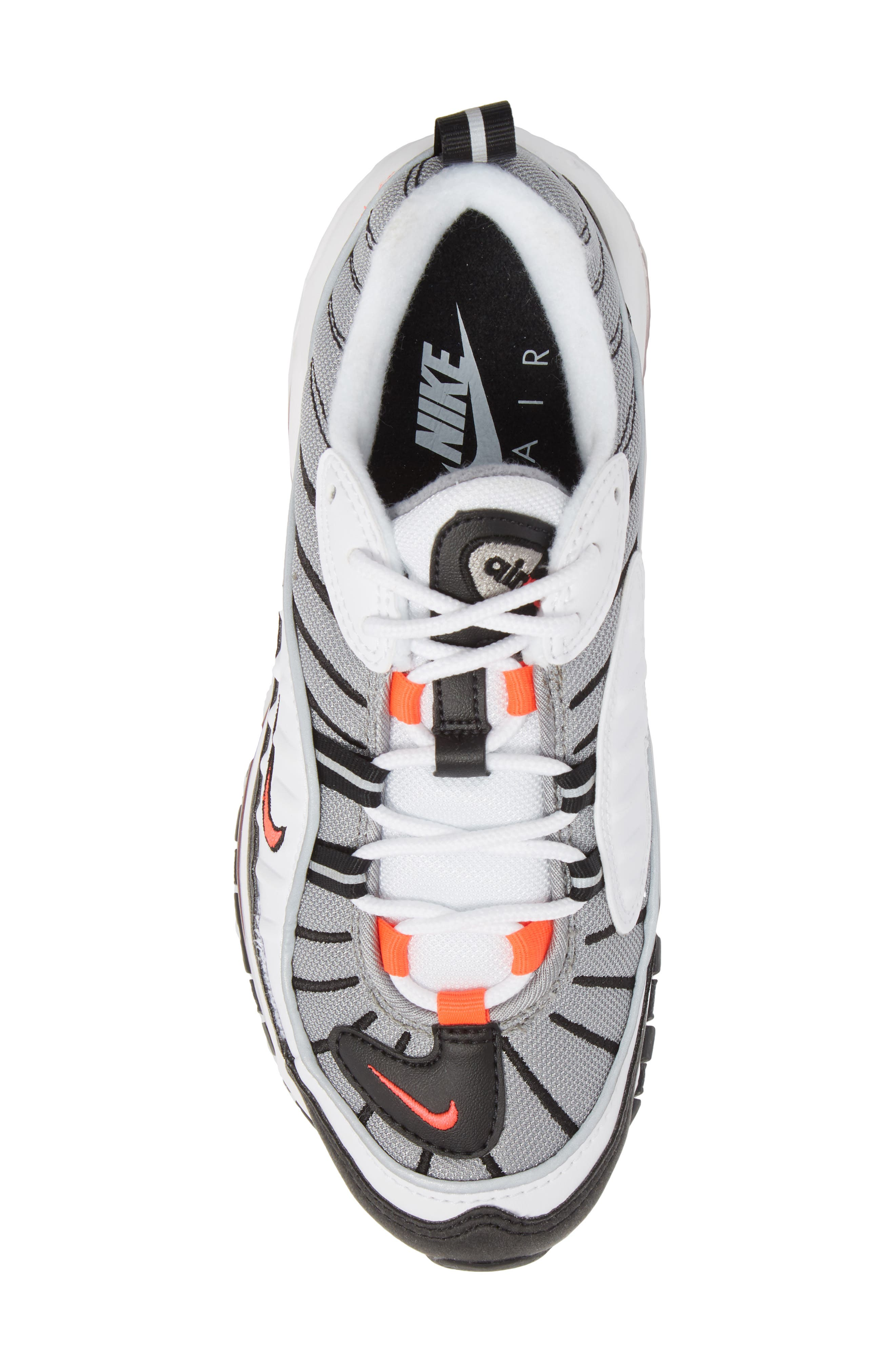 Air Max 98 Running Shoe,                             Alternate thumbnail 5, color,                             WHITE/ RED/ DUST/ REFLECT