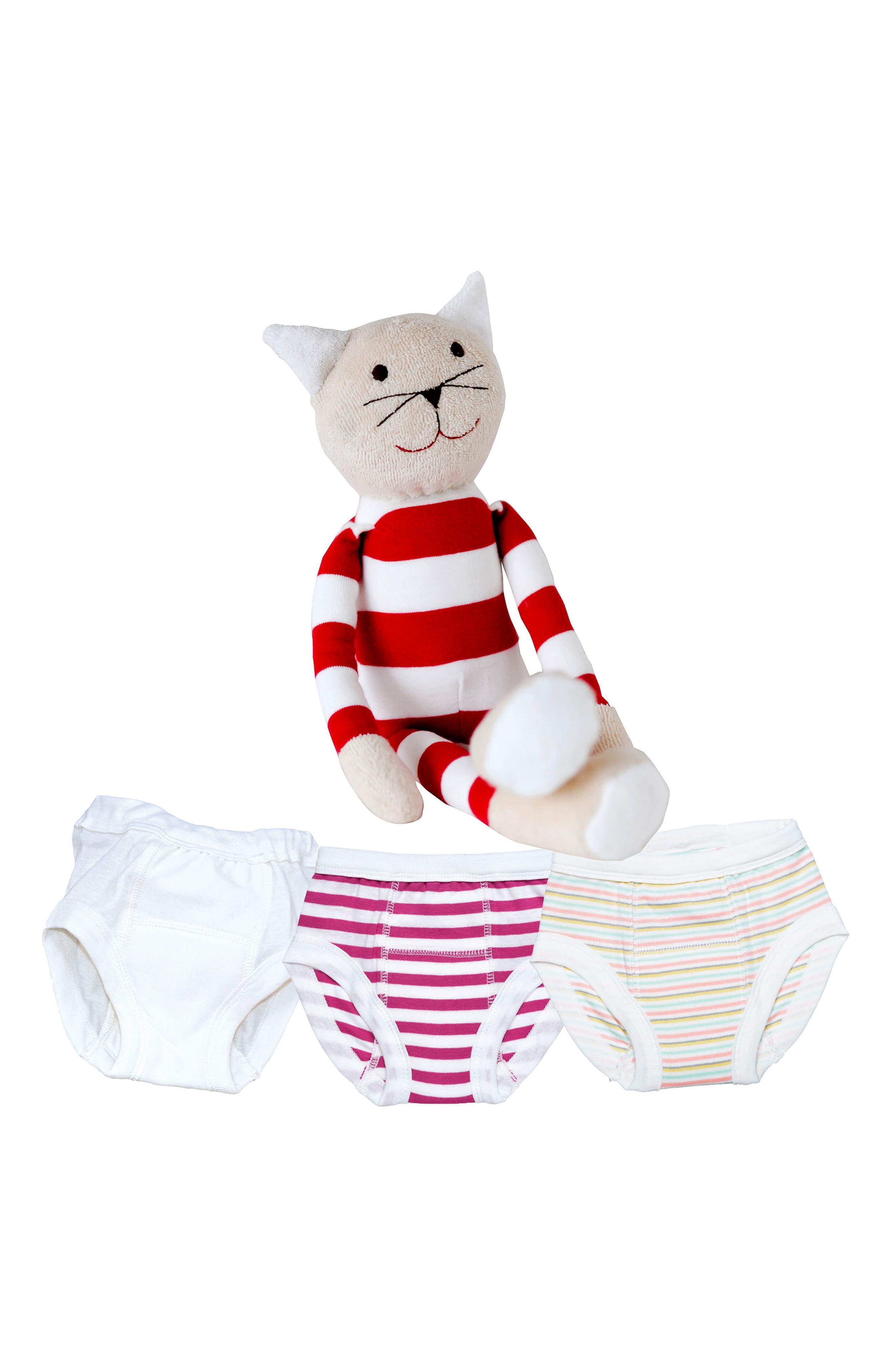 4-Piece Training Pants & Tilly Stuffed Animal Set,                             Main thumbnail 1, color,                             PINK