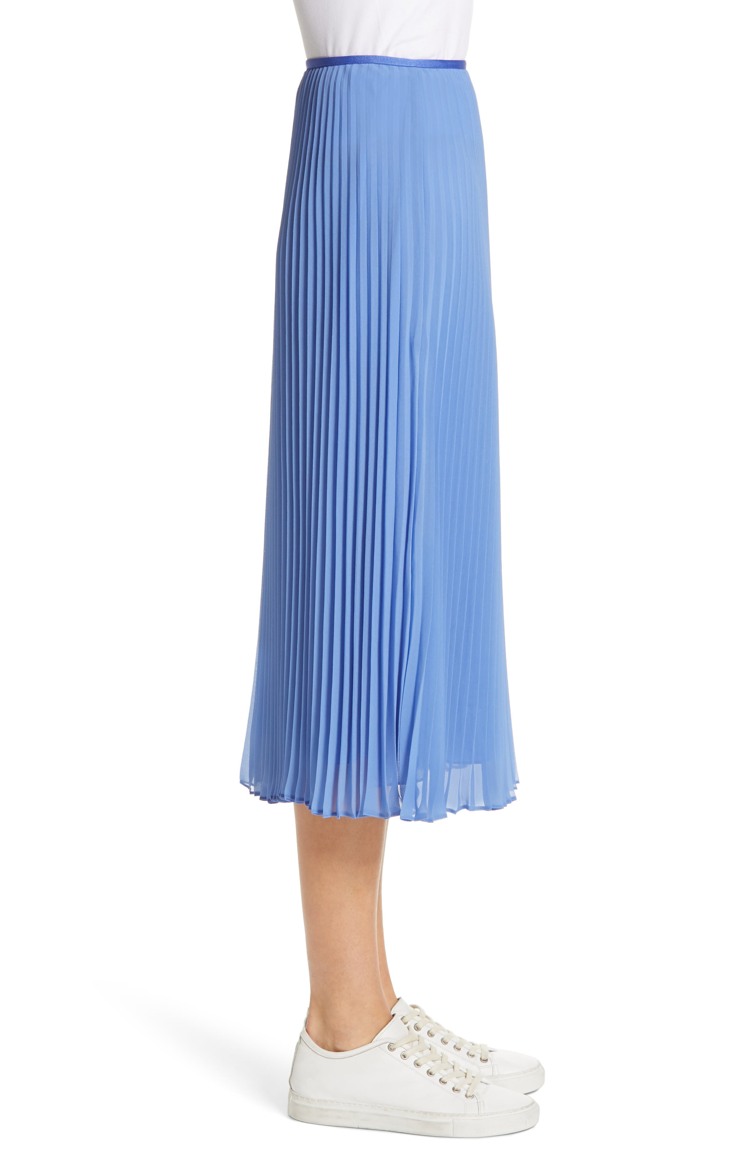 Pleat Midi Skirt,                             Alternate thumbnail 3, color,                             BERMUDA BLUE