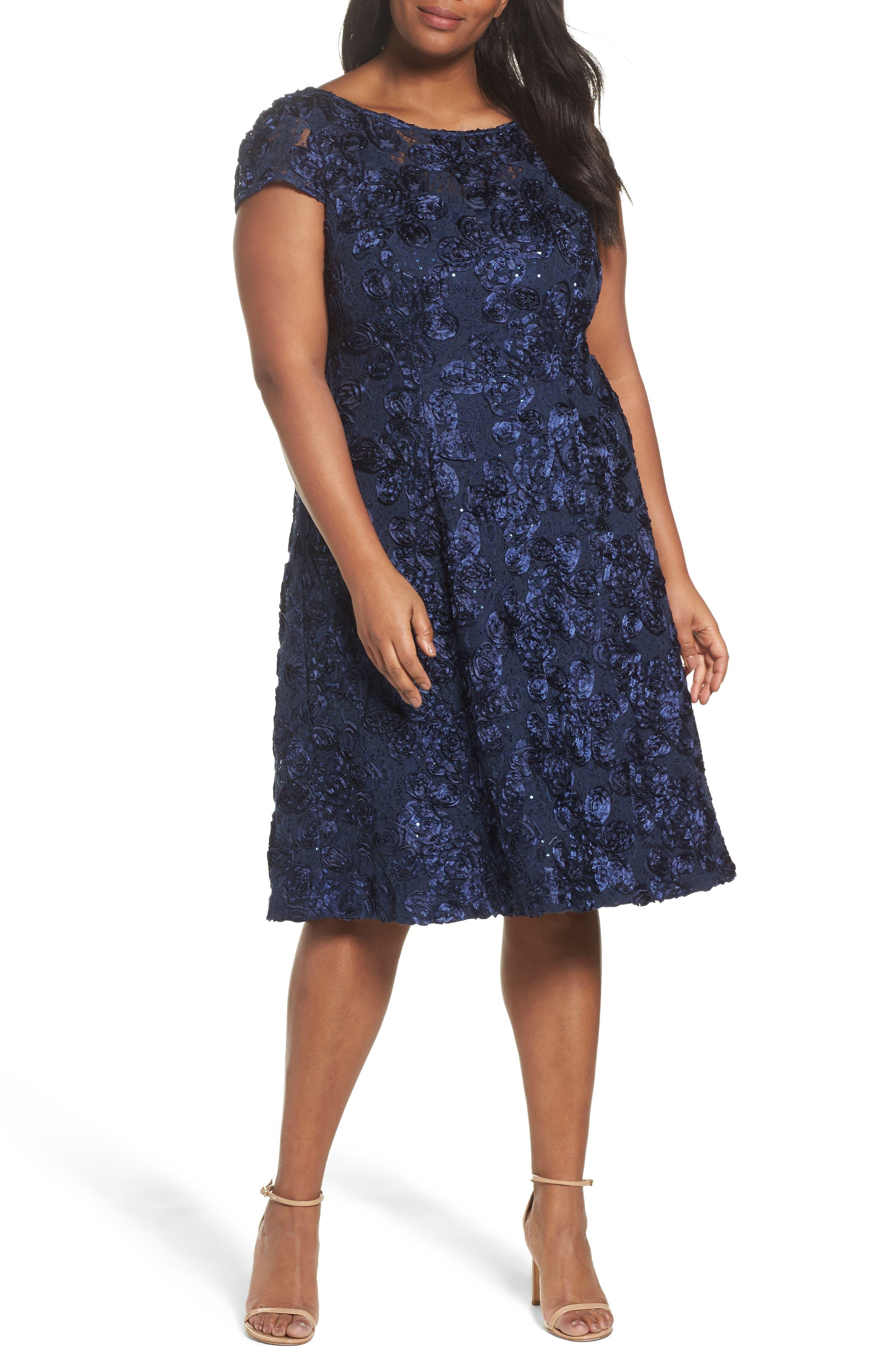 Rosette Fit & Flare Dress,                         Main,                         color, 410