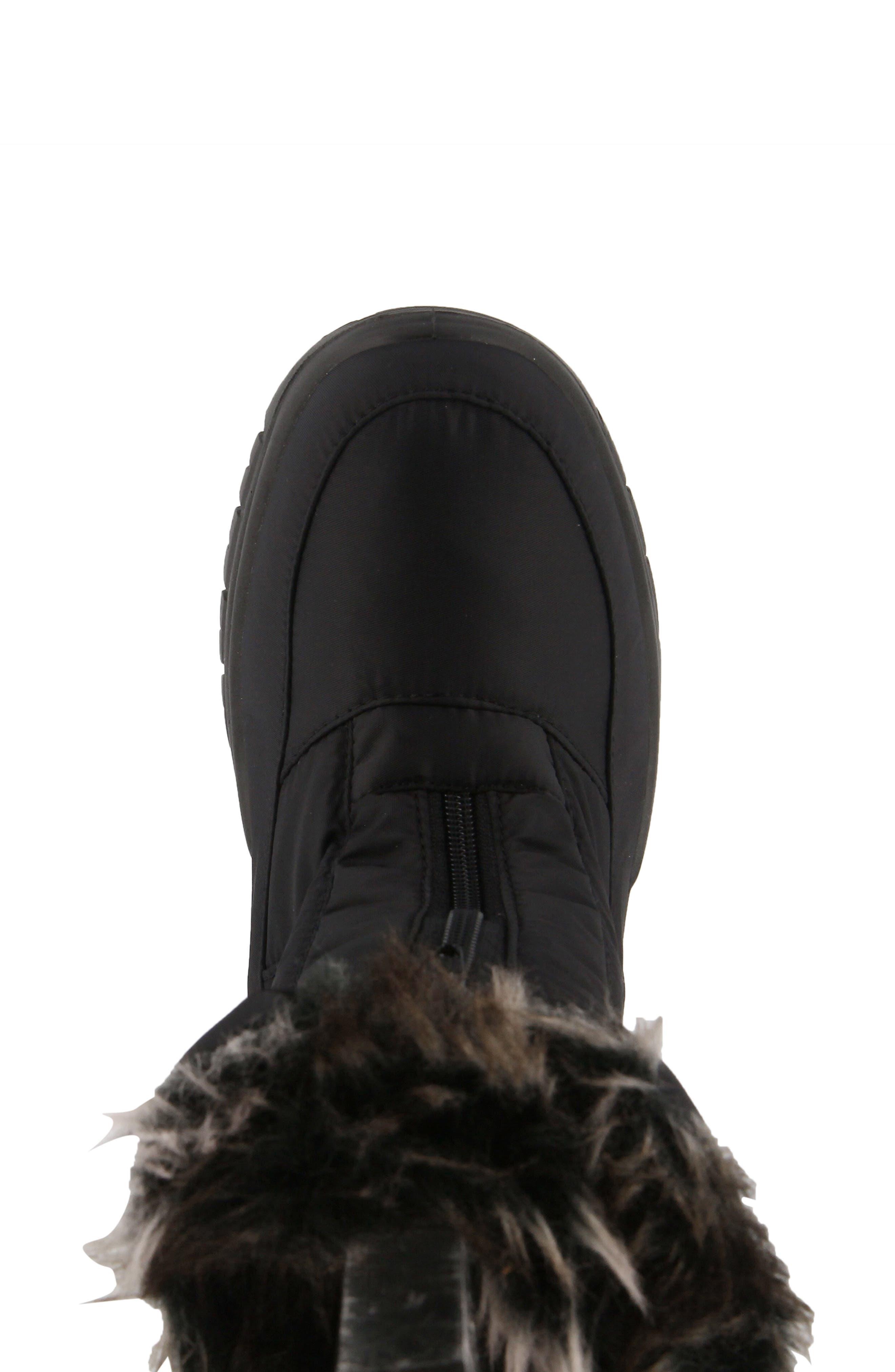 SPRING STEP,                             Zigzag Waterproof Faux Fur Bootie,                             Alternate thumbnail 3, color,                             BLACK FABRIC