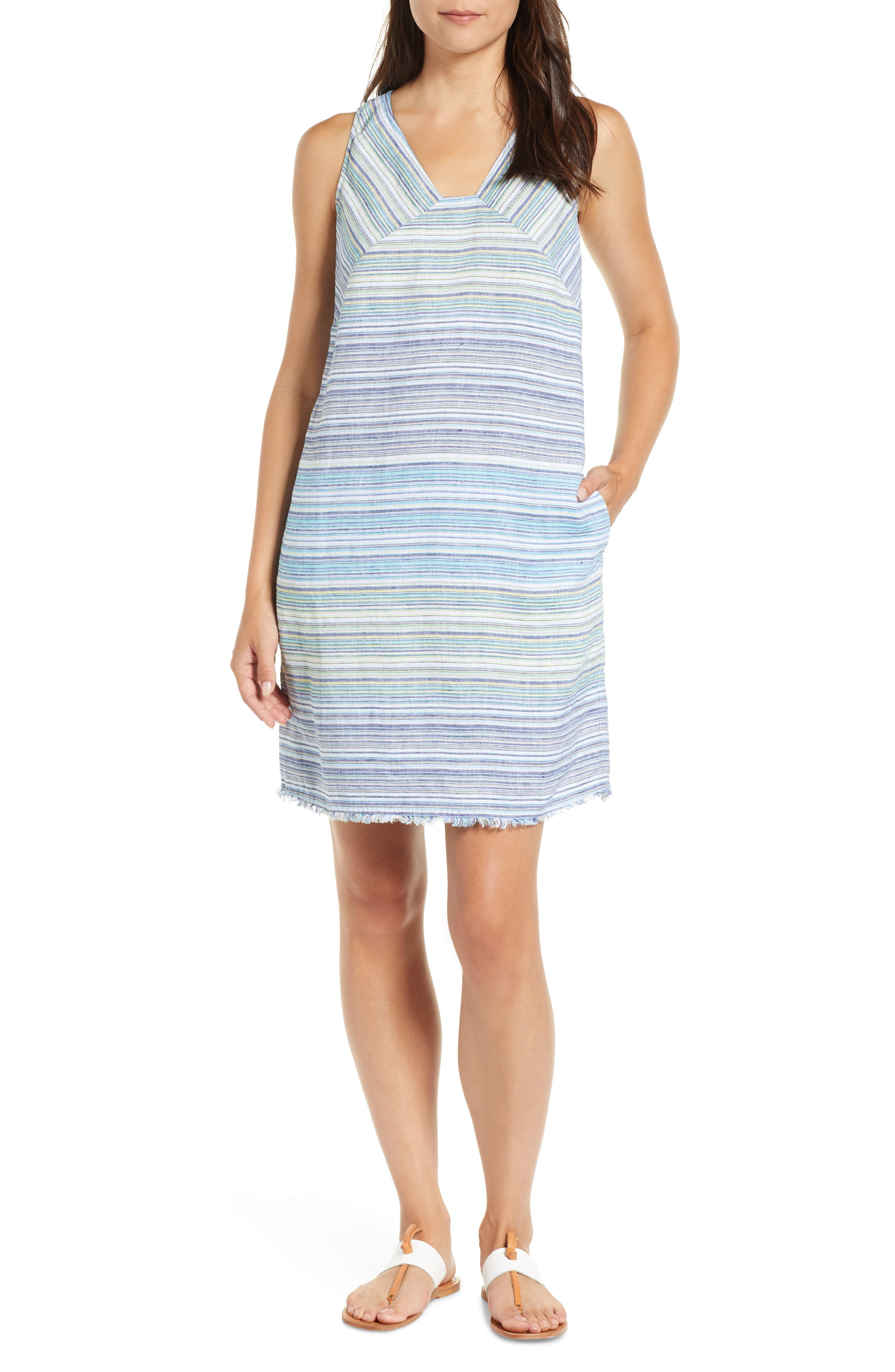 Tommy Bahama Micronesia Stripe Linen Shift Dress, Blue