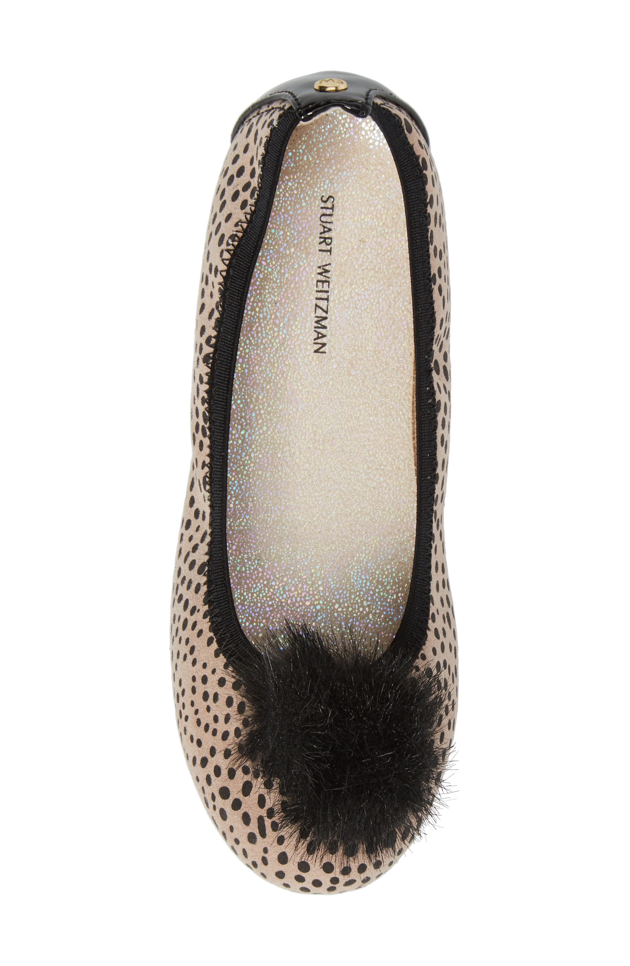 Fannie Cheetah Faux Fur Pom Flat,                             Alternate thumbnail 5, color,                             012