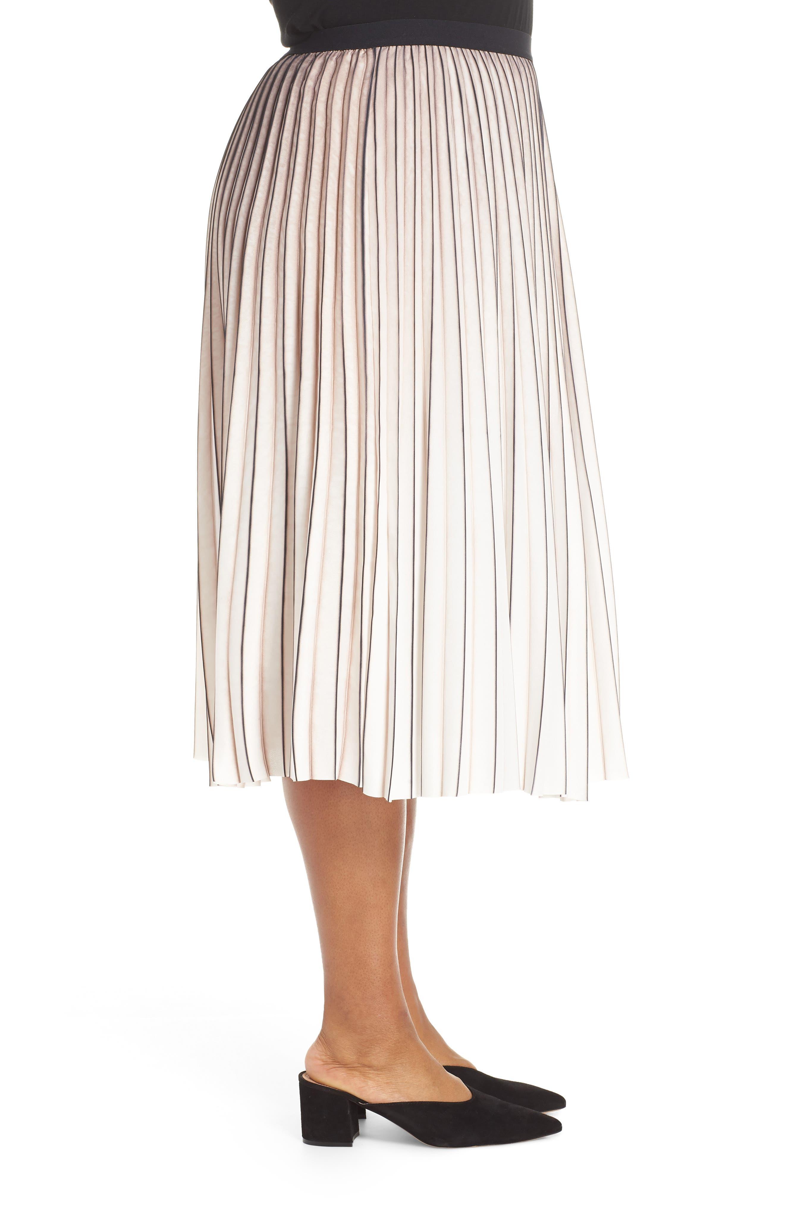 Stripe Pleat Skirt,                             Alternate thumbnail 3, color,                             MULTI